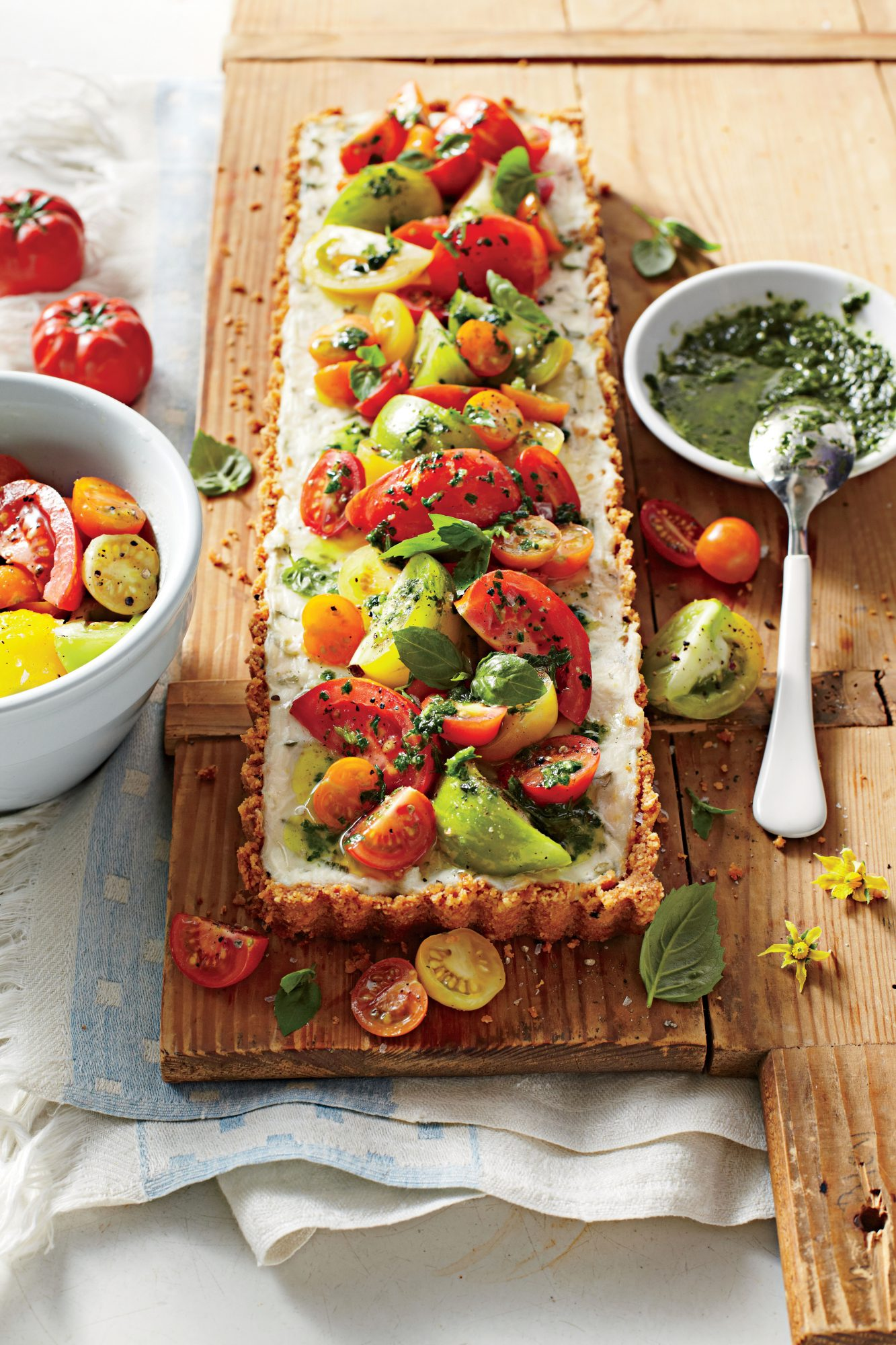 Tomato-Goat Cheese Tart with Lemon-Basil Vinaigrette Recipe