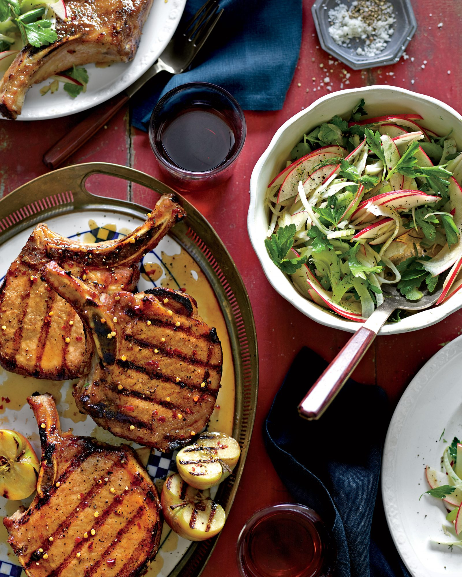 Grilled Pork Chops with Apple-Bourbon Glaze Recipe