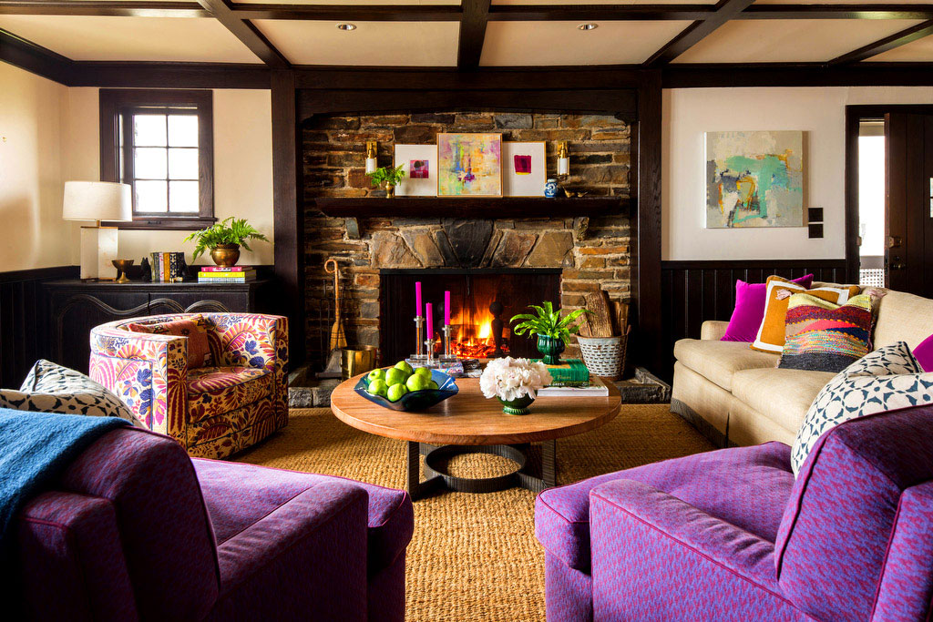 Living Room with Purple Armchairs