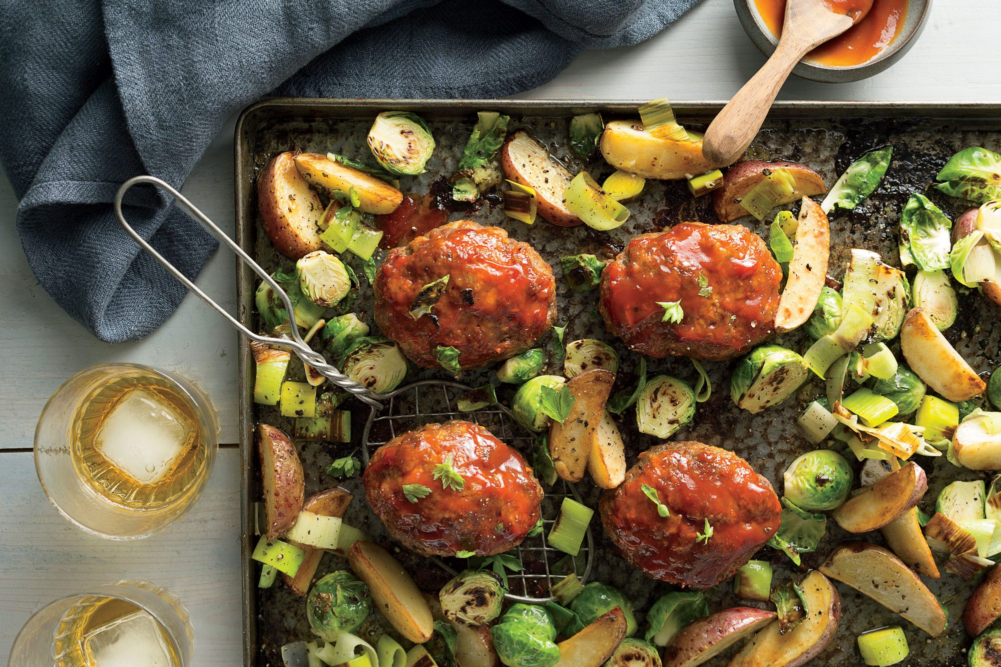Mini Meatloaves with Potatoes, Leeks, and Brussels Sprouts Recipe