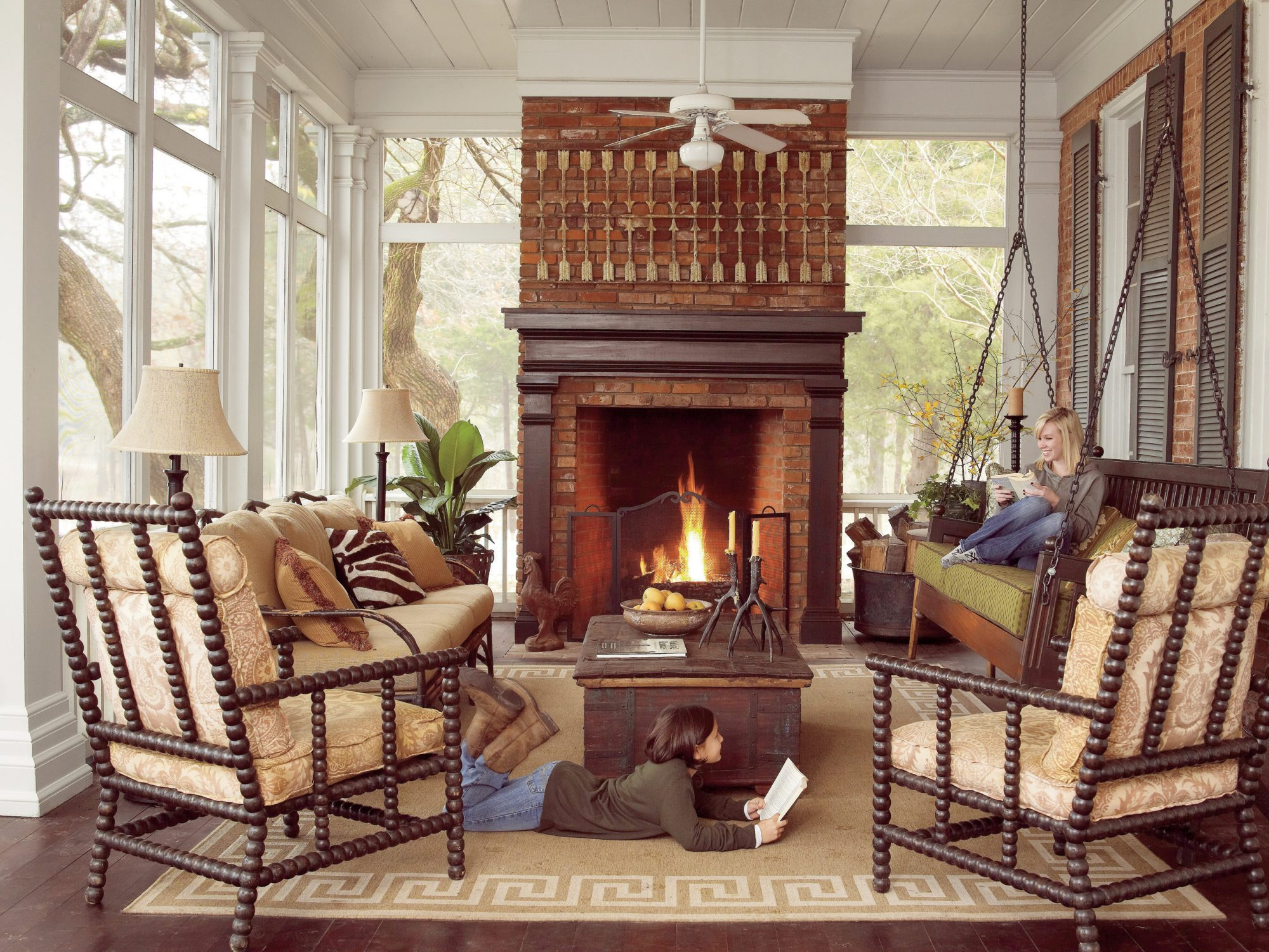 Cozy Fall Porch Swing