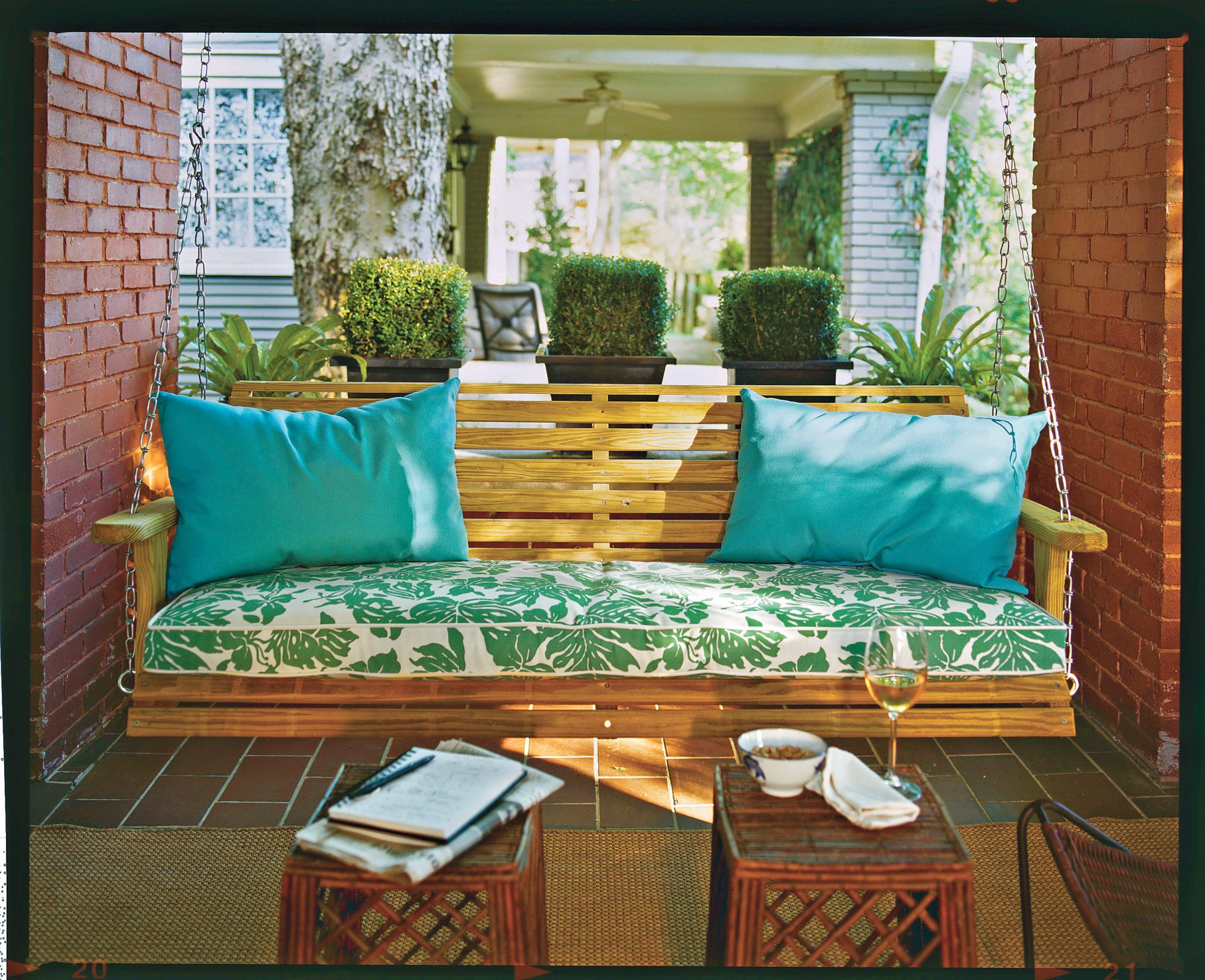 Bright Green Porch Swing