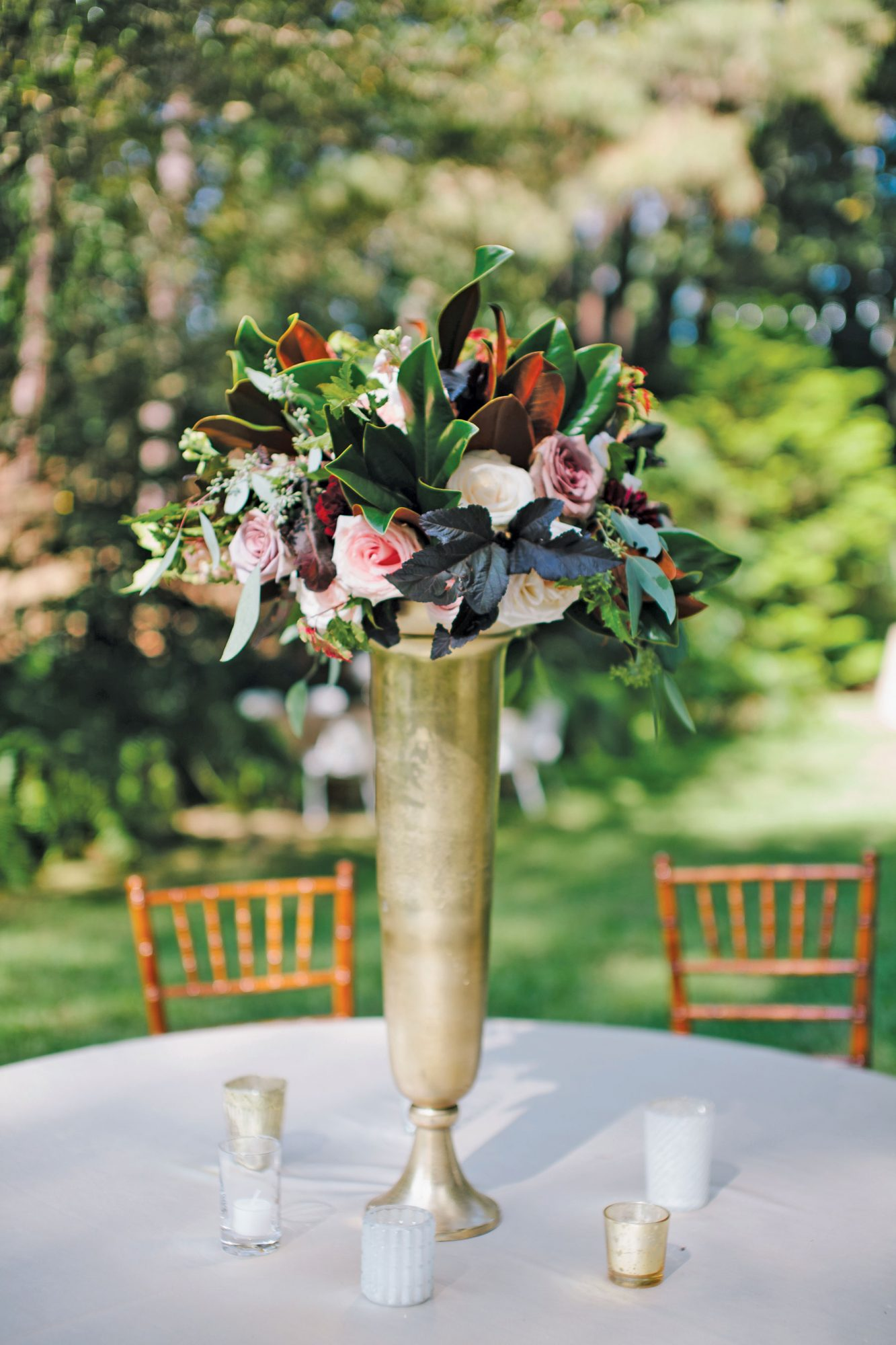 Tall Silver Vase Centerpiece
