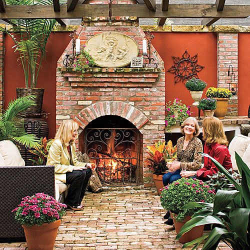 Vintage Brick Outdoor Fireplace