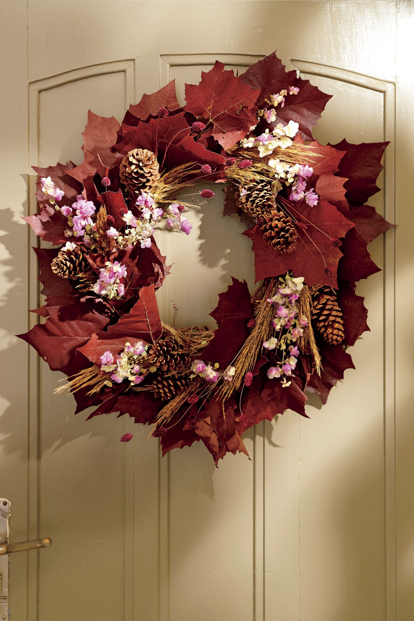Red Leaves Wreath with Pinecones for Fall