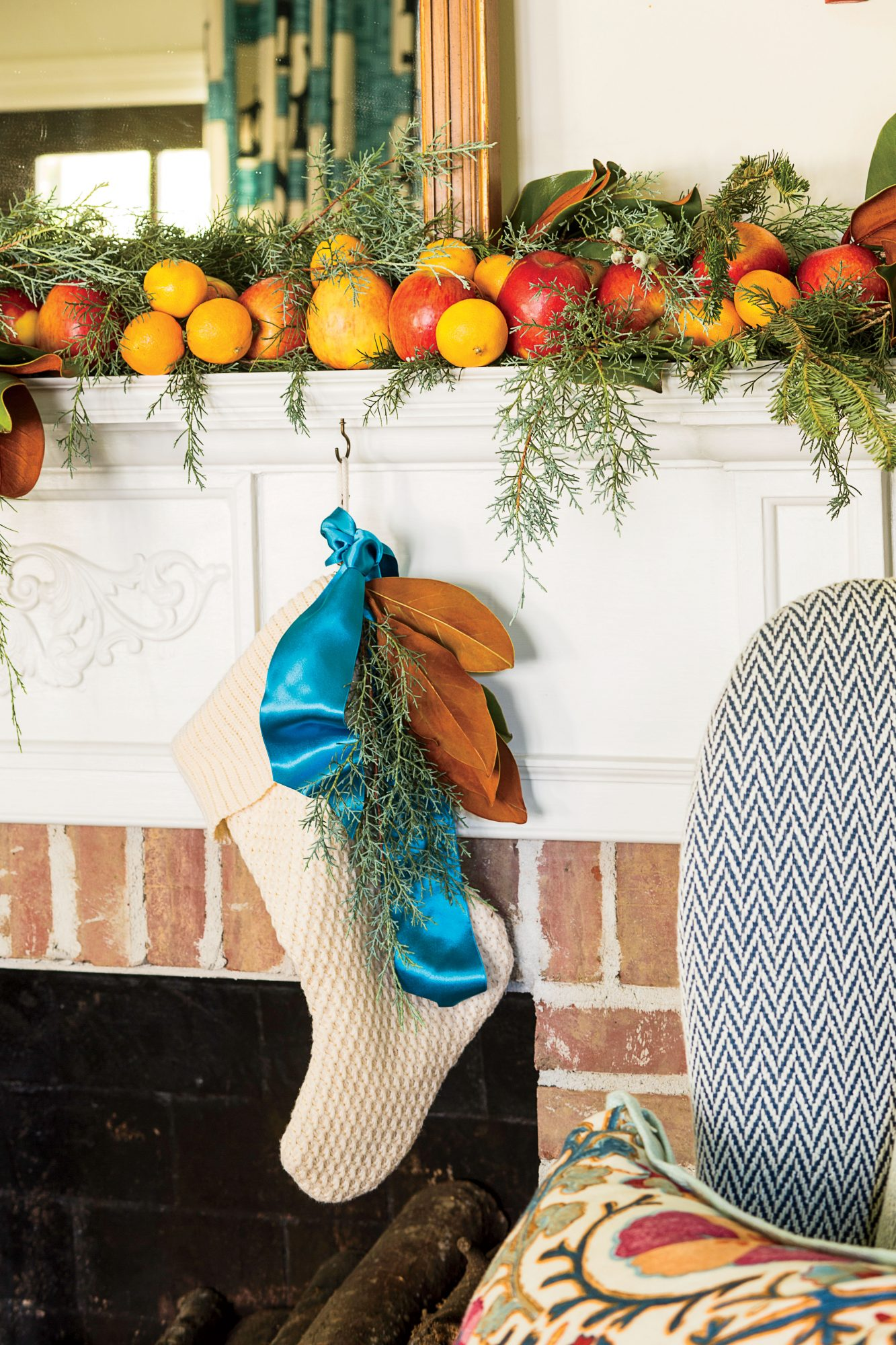 Christmas Stocking with Magnolia Leaves