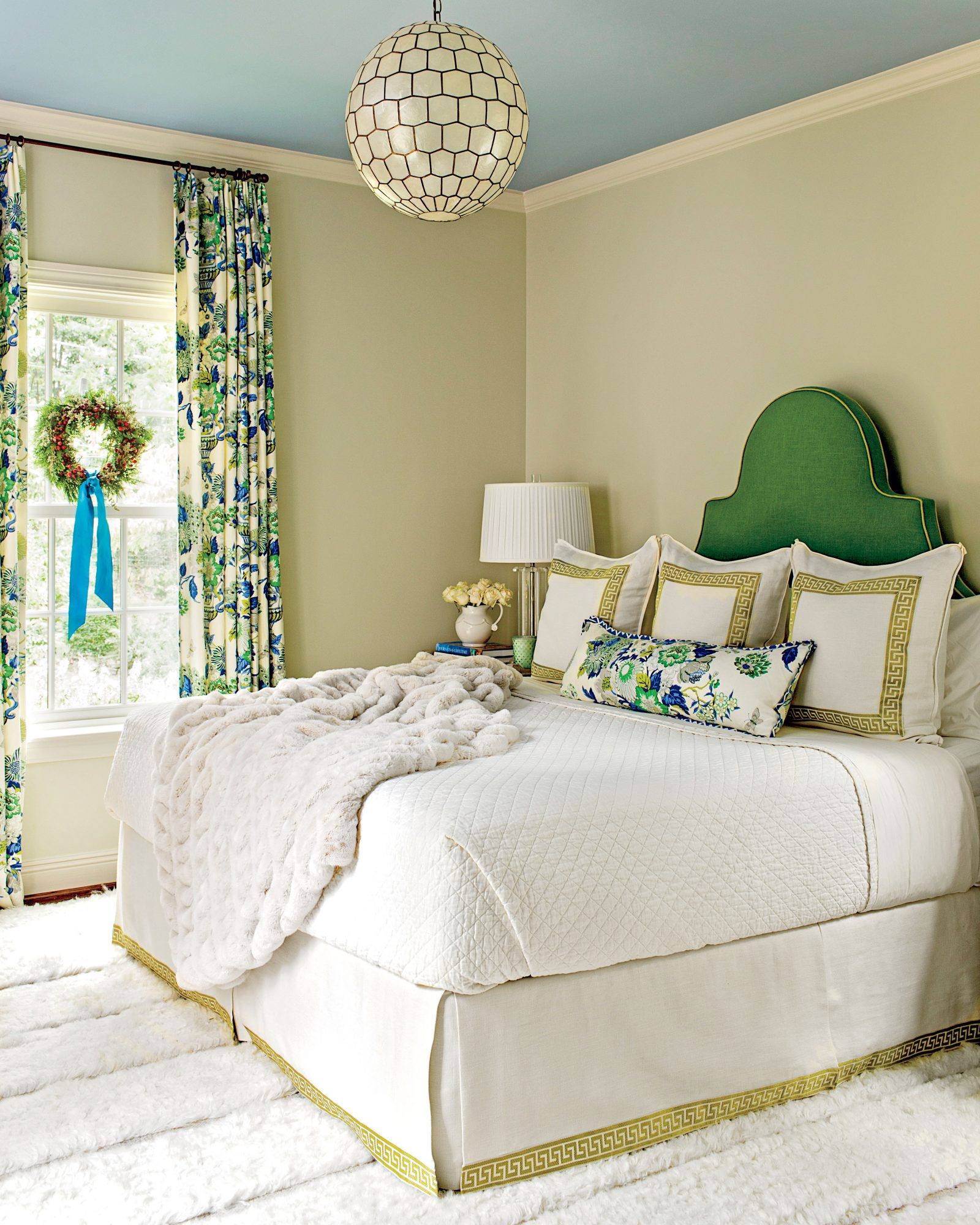 Master Bedroom with Green Headboard