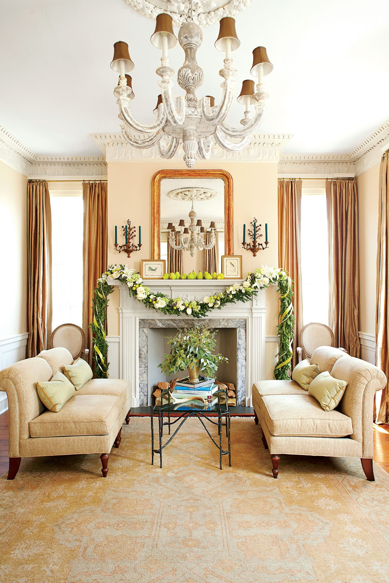Living Room Fireplace with Garland
