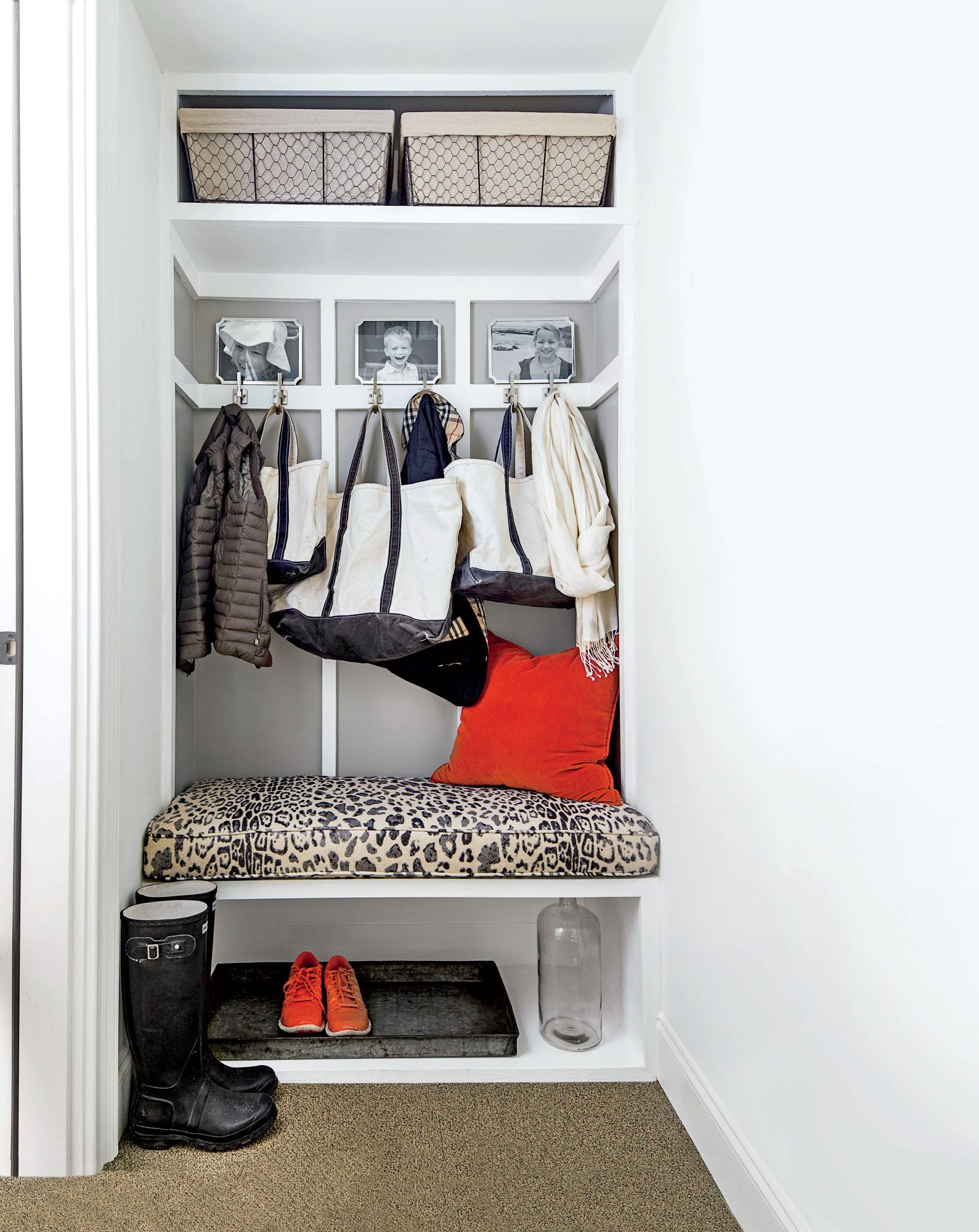Mudroom with Leopard Cushion