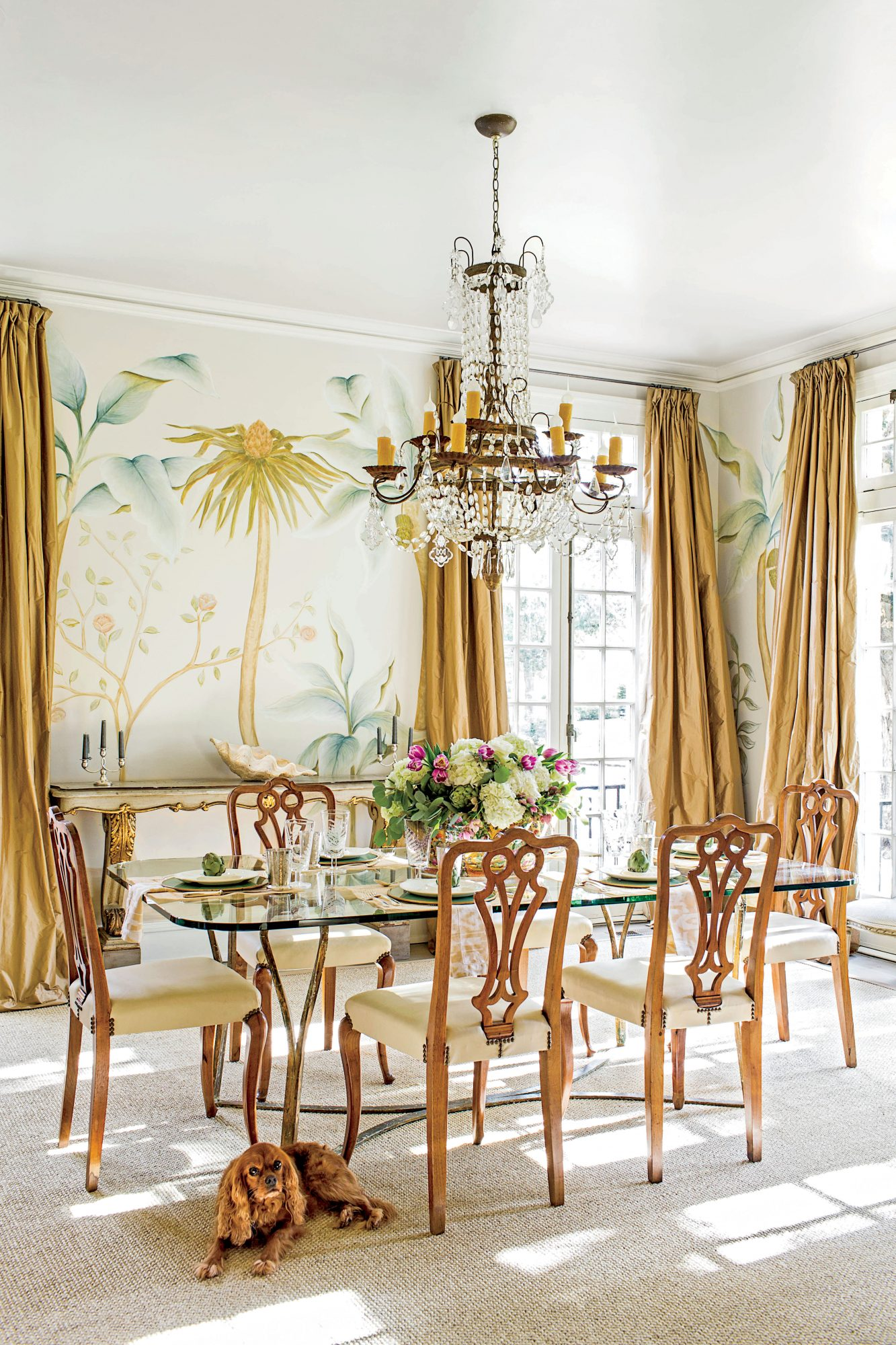 New Orleans Dining Room with Palm Tree Mural