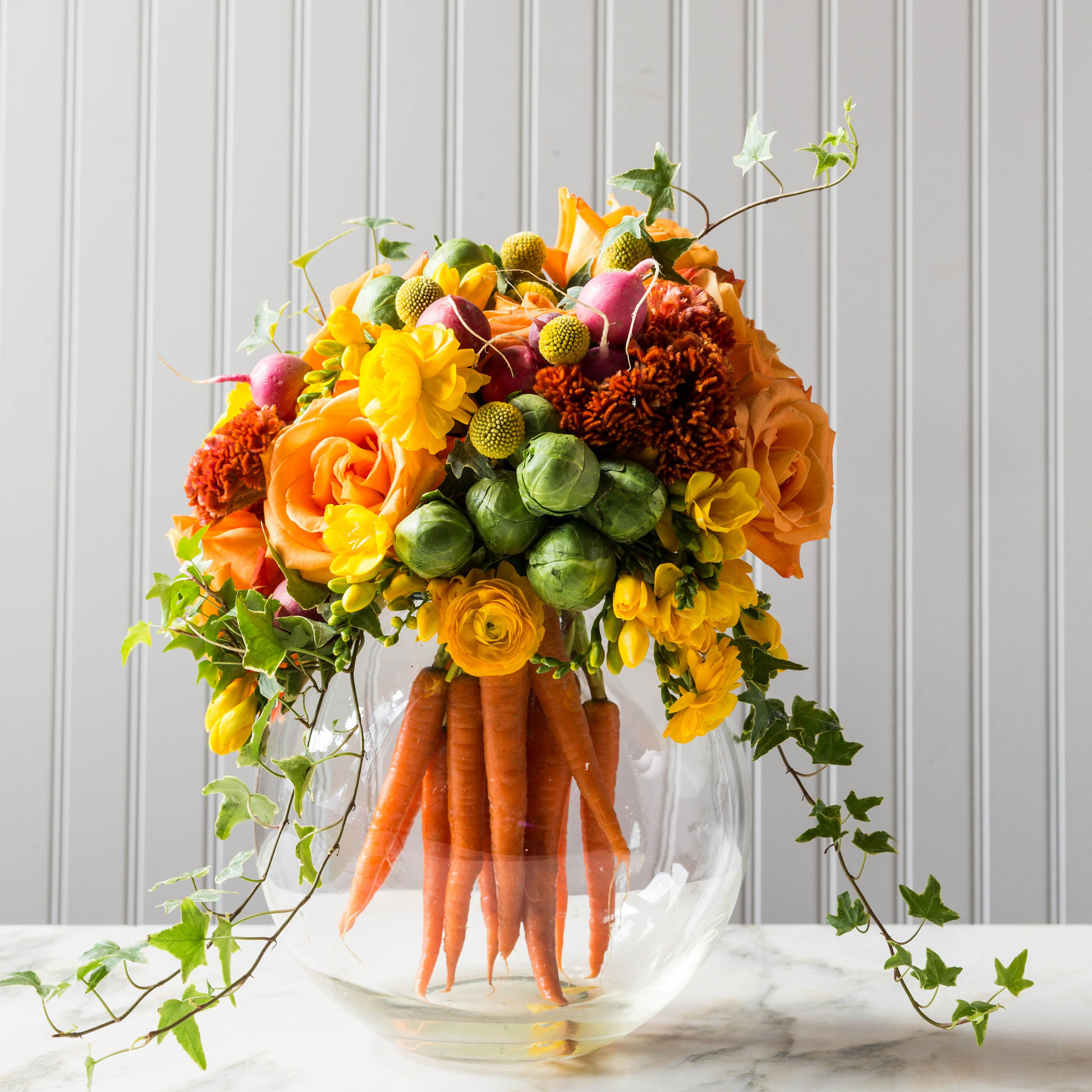 Easter Centerpiece with Flowers and Vegetables