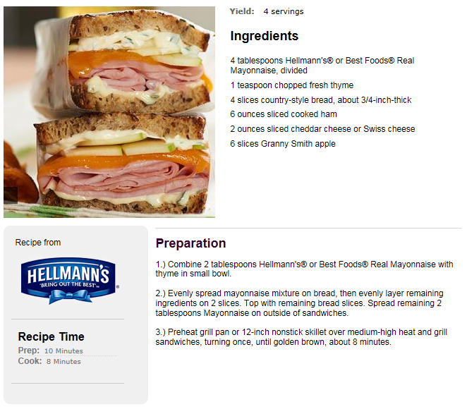 Country Grilled Ham & Cheese Sandwich