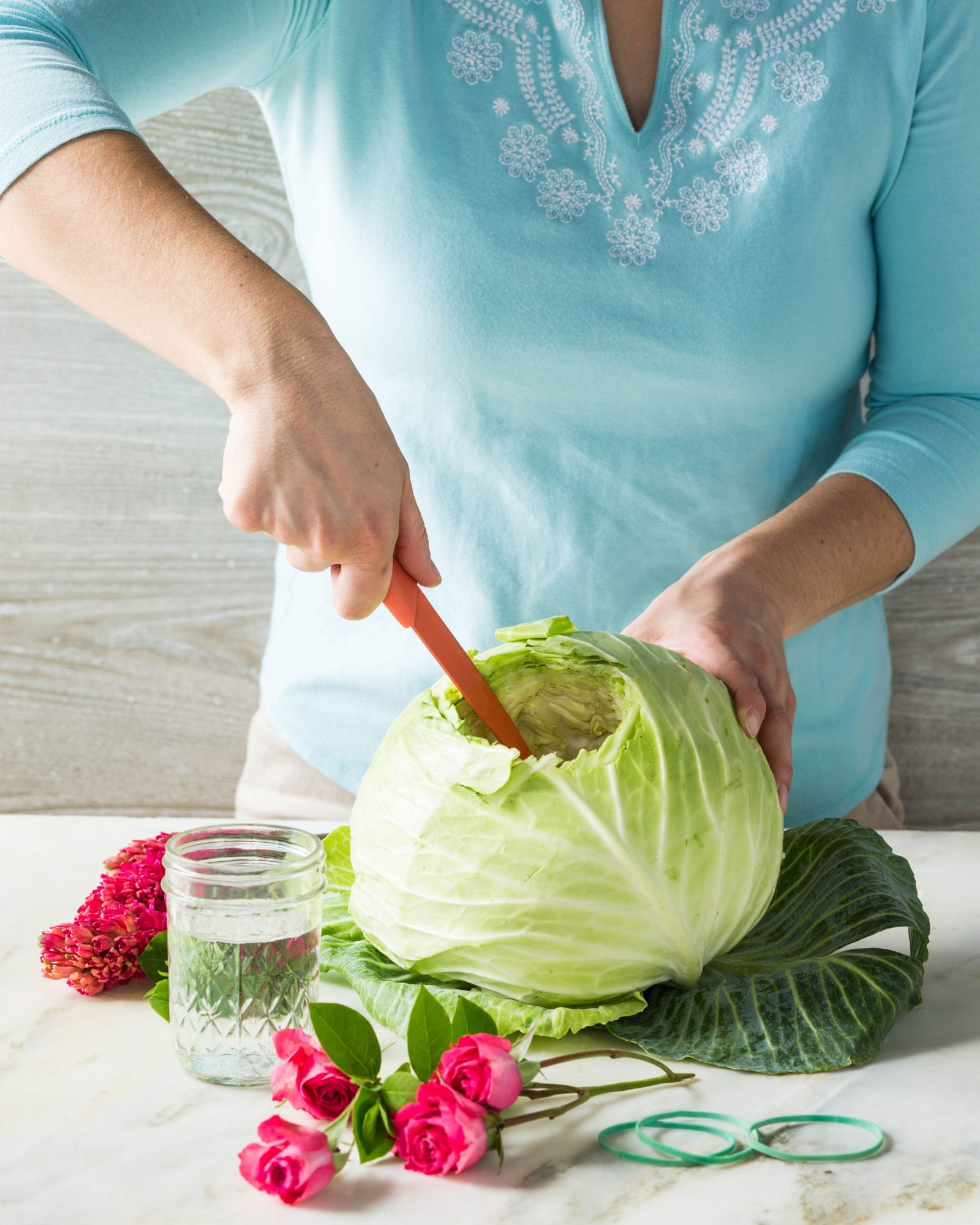 Cabbage Flower Centerpiece Steps 1-5