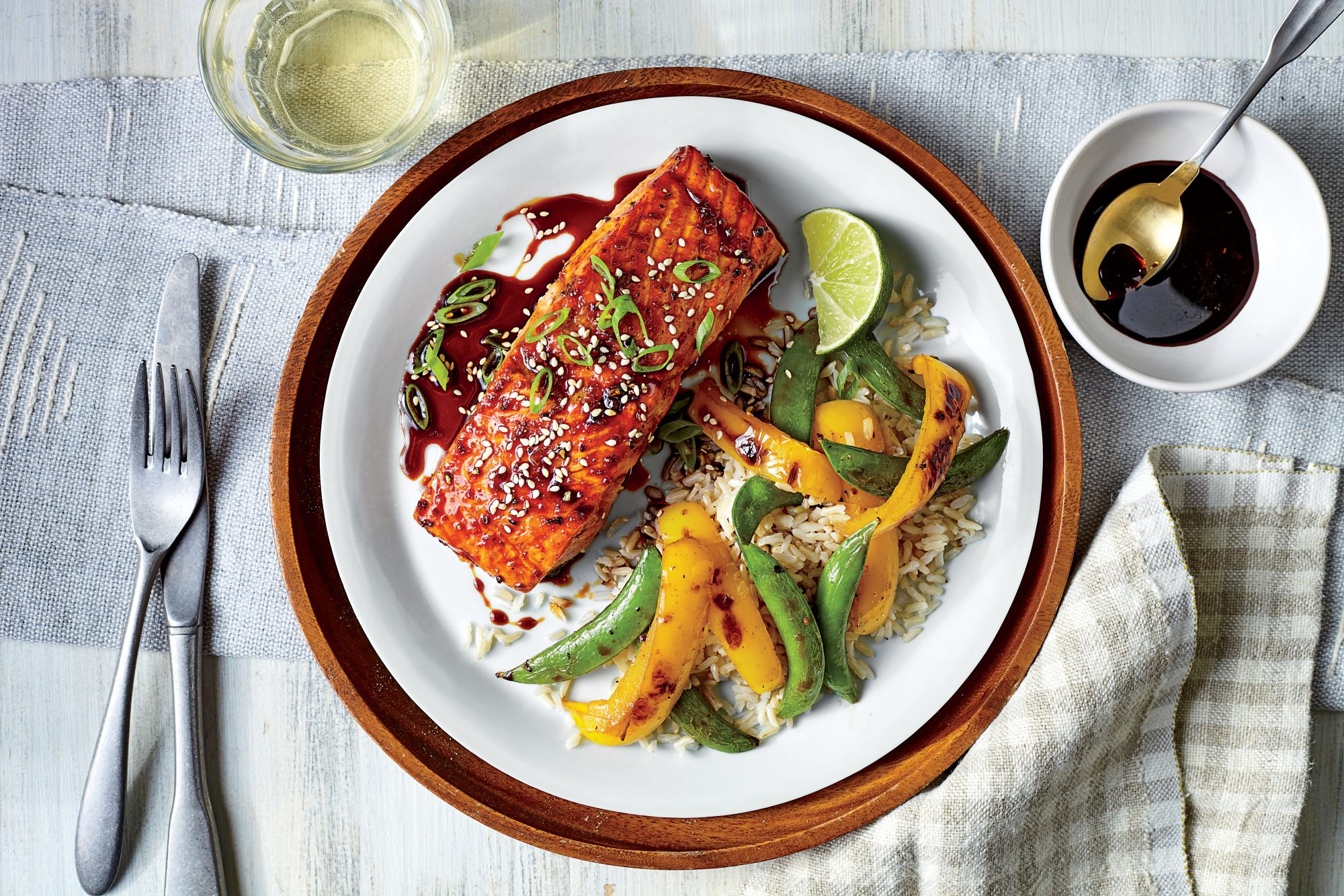 Molasses-Soy Glazed Salmon and Vegetables