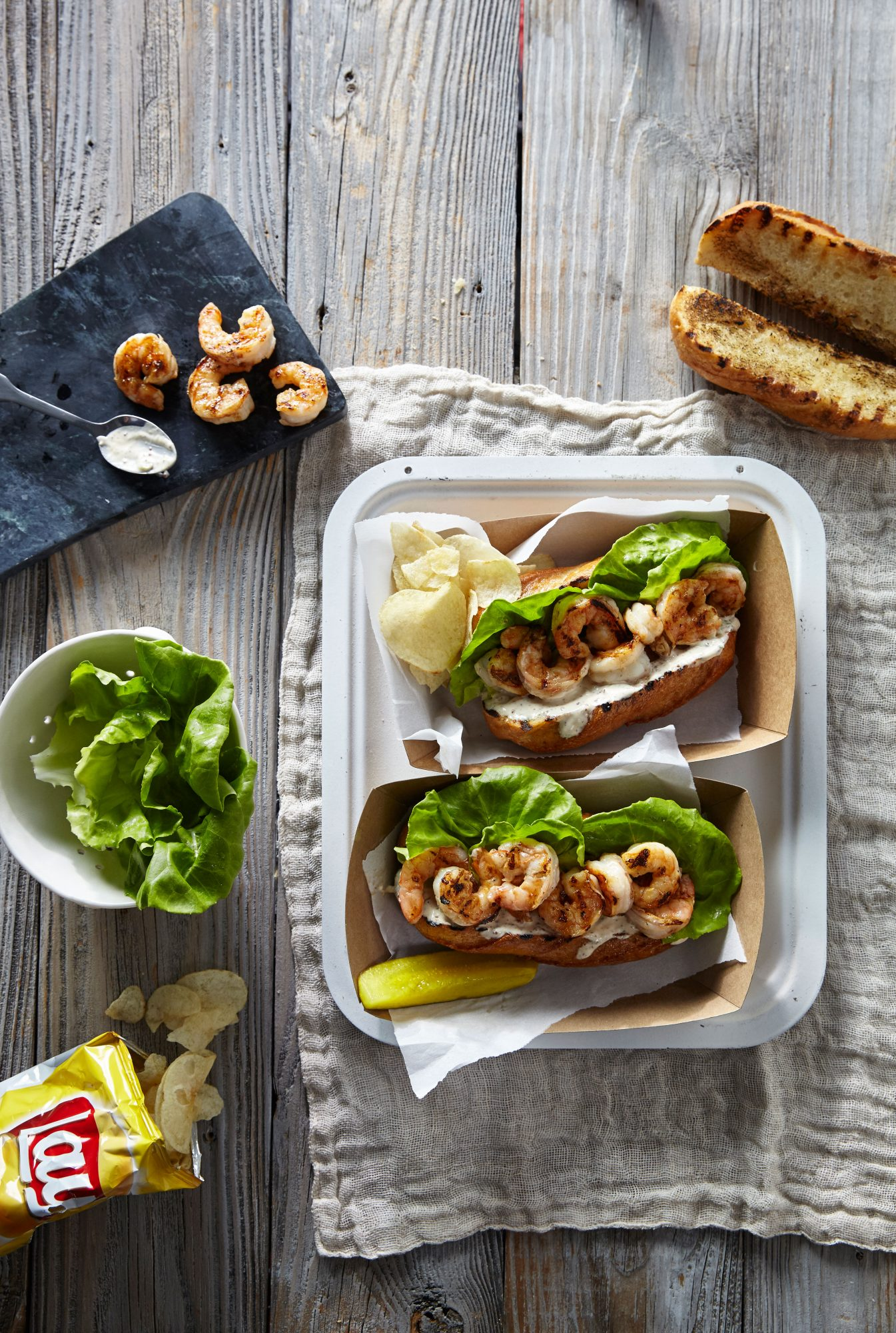 Grilled Shrimp Po'Boys with Quick Remoulade Sauce