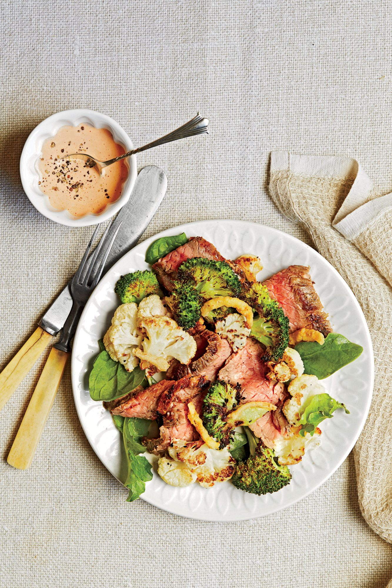 Charred Steak Salad with Spicy Dressing
