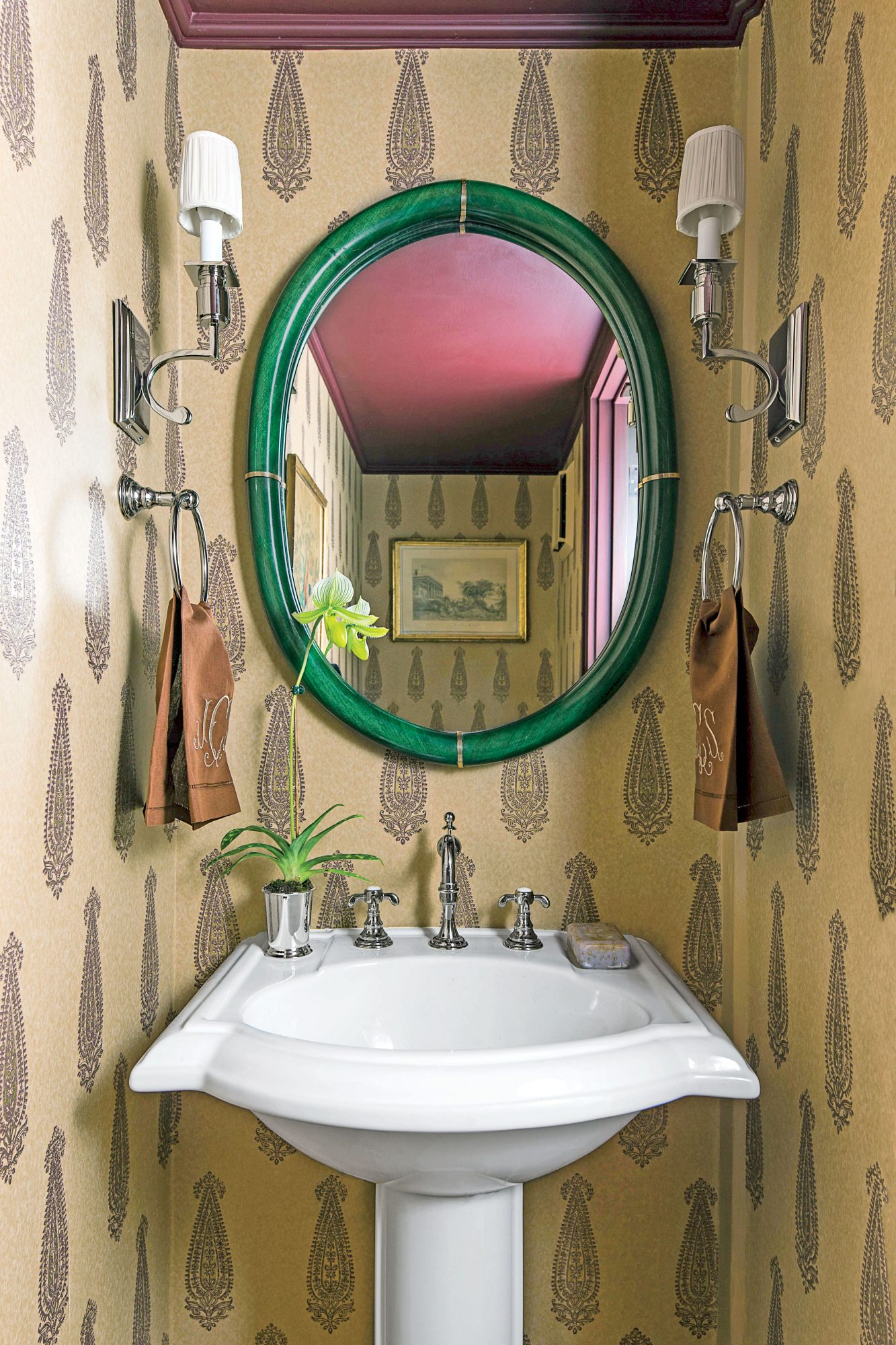 Powder Room with Wallpaper and Aubergine Ceiling