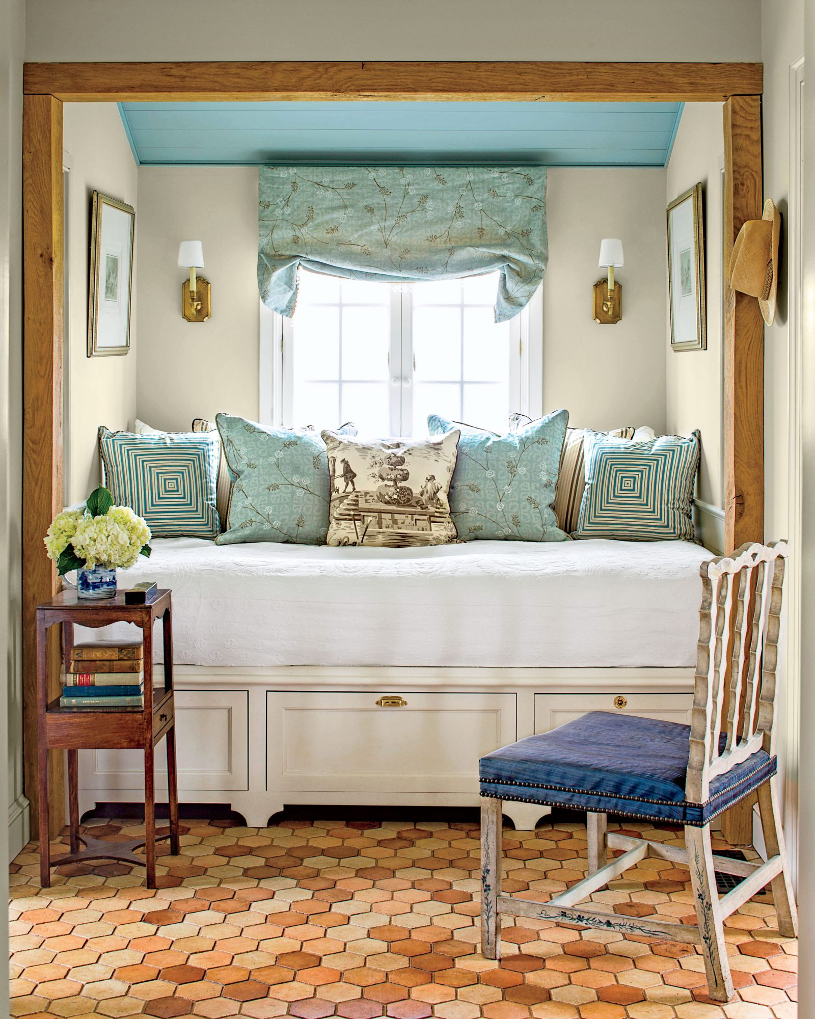 Blue and White Bedroom Nook