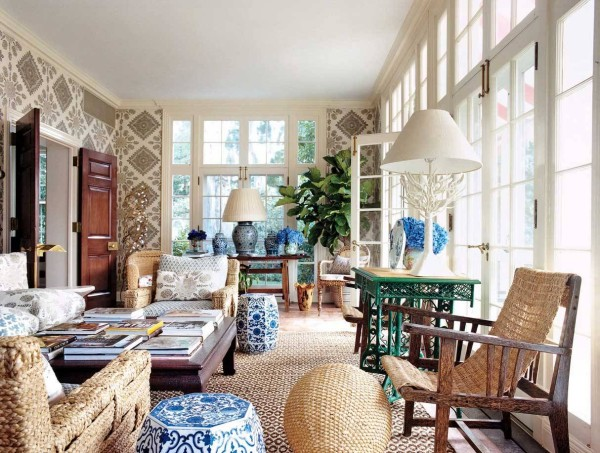 diamond-pattern-wallpaper-feat-picture-of-vintage-sunroom-decorated-also-cool-table-lamp-and-oversized-white-window-600x453.jpg