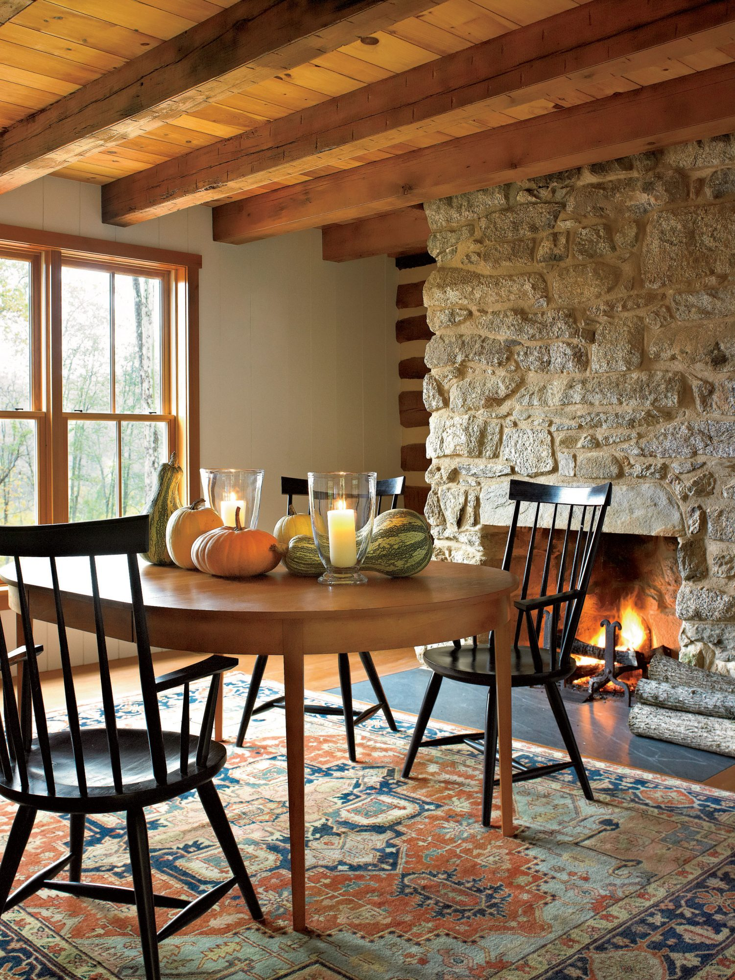 Fall Fireplace Tablescape