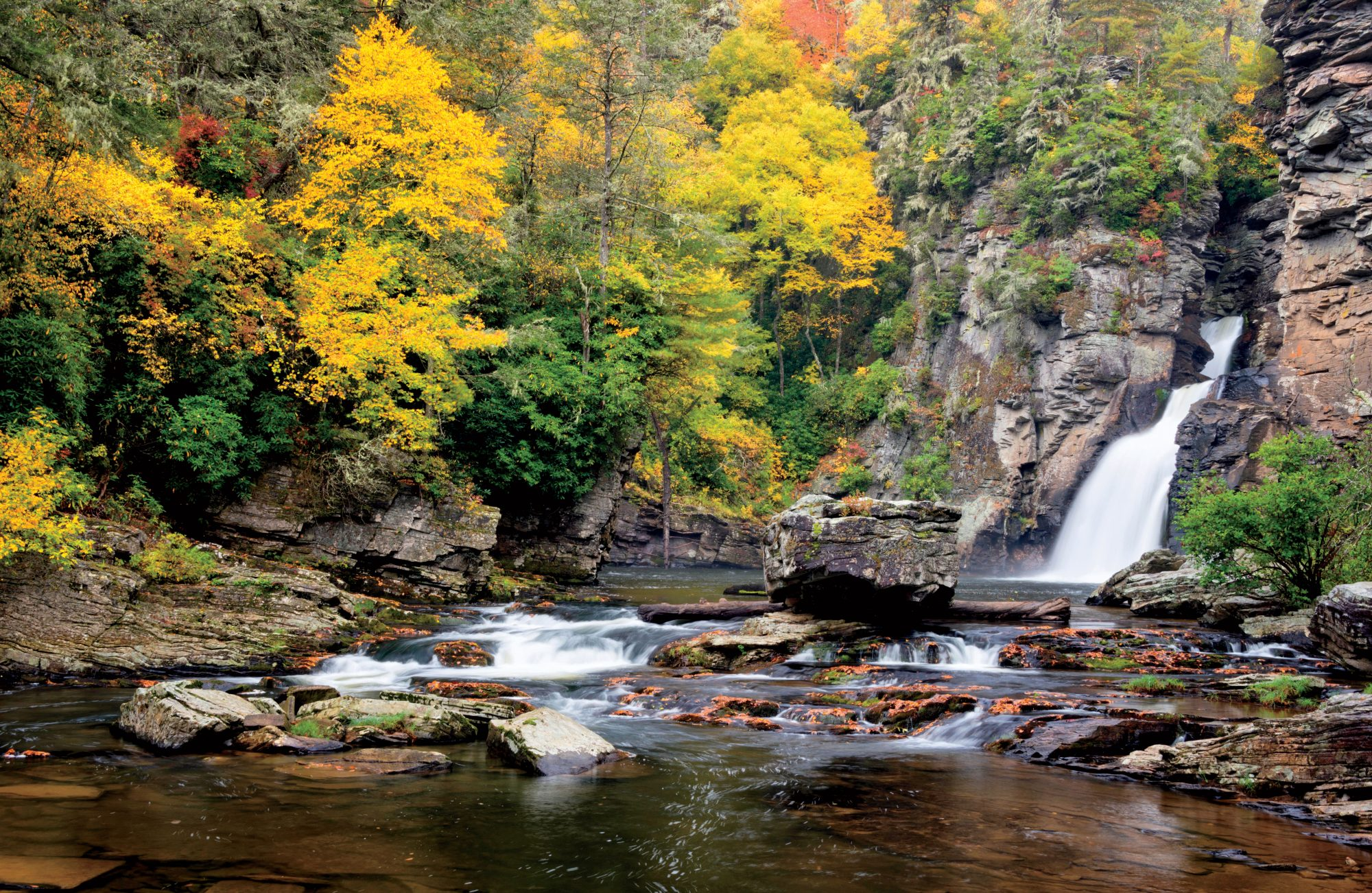 Linville Falls in western North Carolina is one of the most popular waterfalls along the Blue Ridge Parkway.