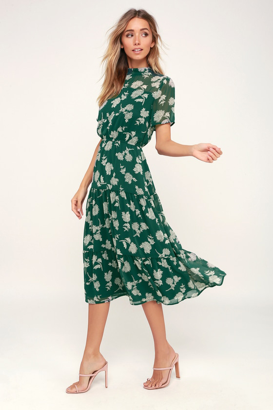 Floral Dressed Up Dark Green Floral Print Midi Dress