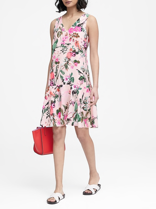 Floral Drop-Waist Shift Dress in Pink