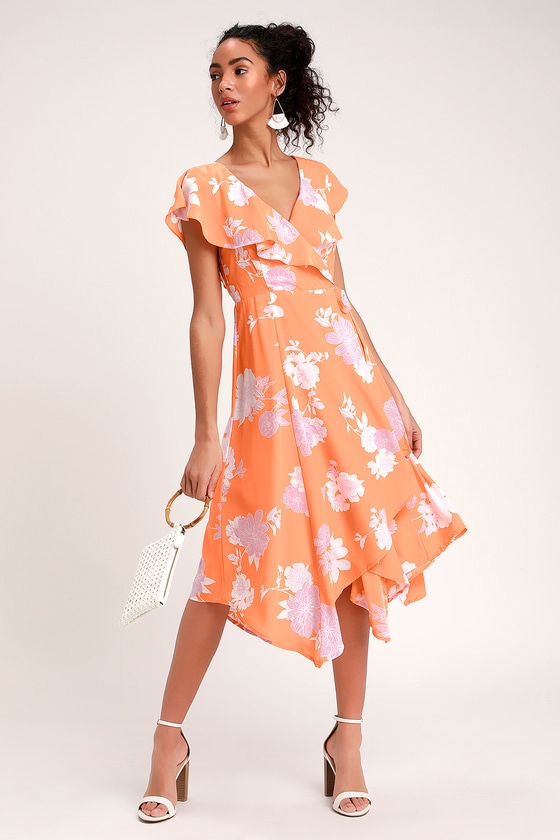 Garden Of Joy Light Orange Floral Print Ruffled Wrap Dress