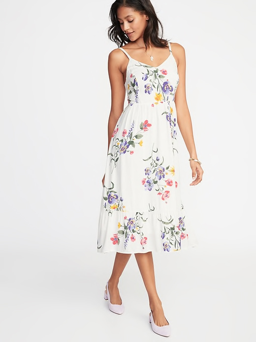 Fit & Flare Cami Midi for Women in White Floral