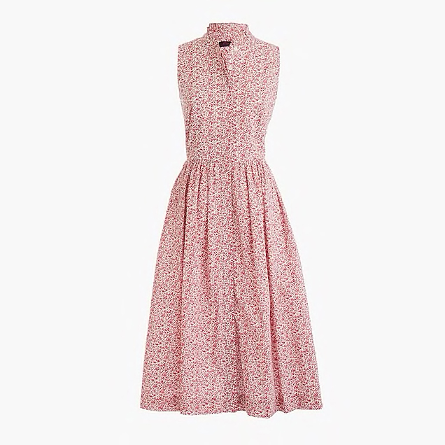 Sleeveless Ruffle-Neck Midi Dress in Liberty Chamomile Floral