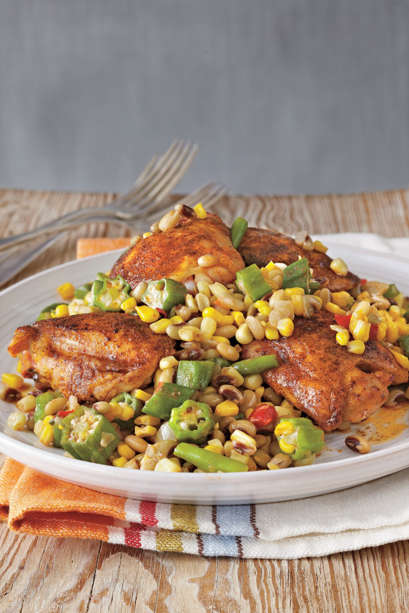 Creole Chicken with Field Pea Succotash