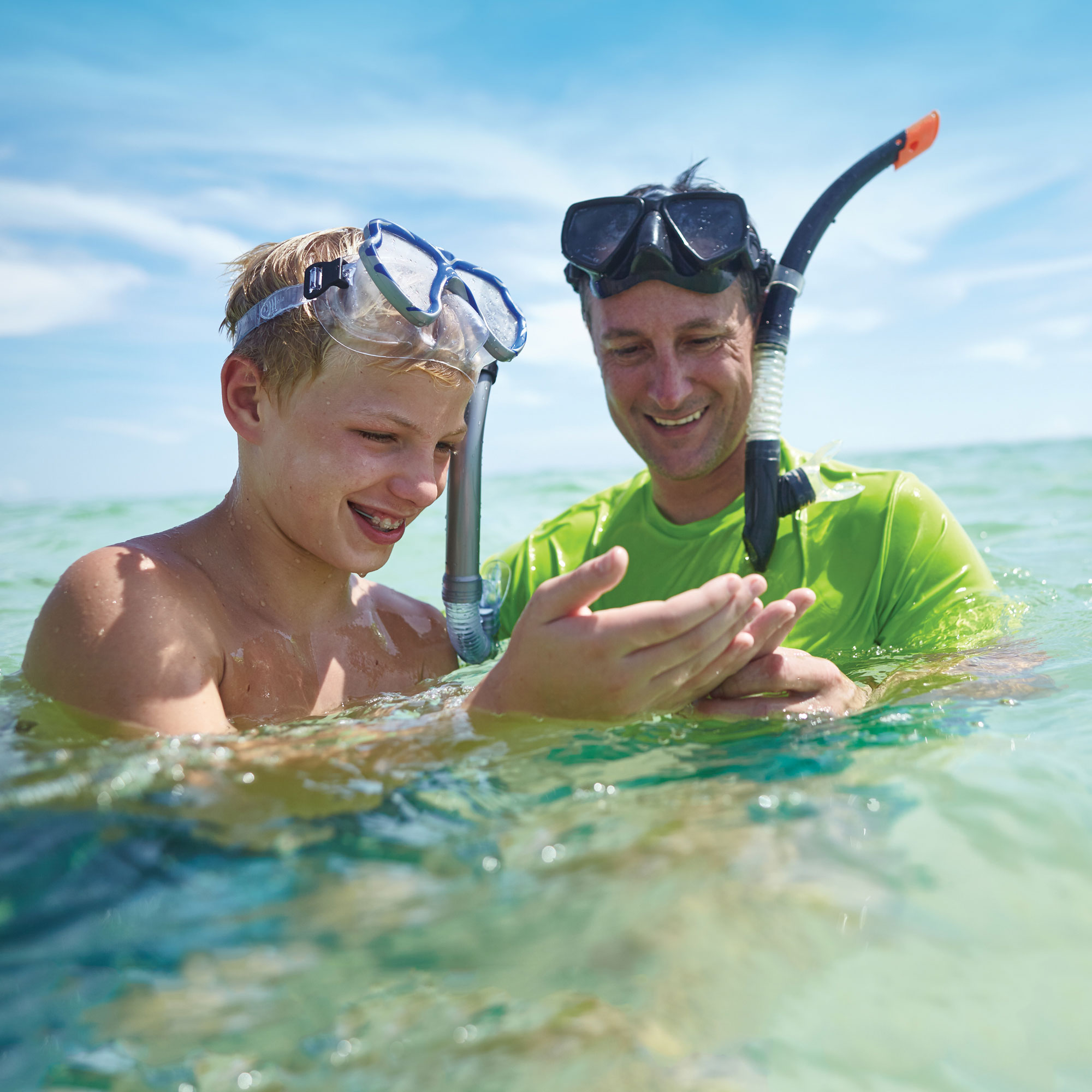 Dad and Son Snorkeling