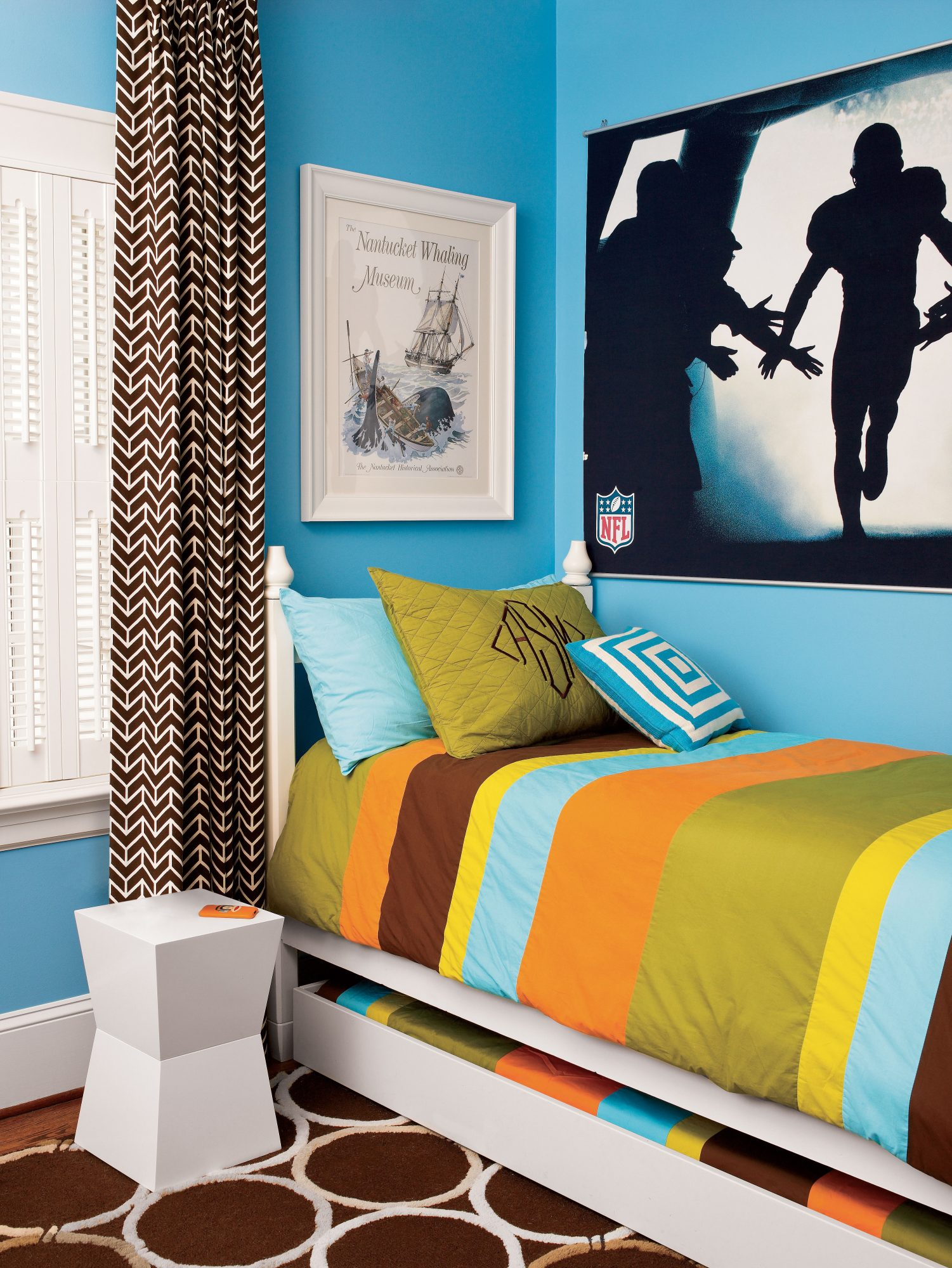Teal Sports Boy Bedroom