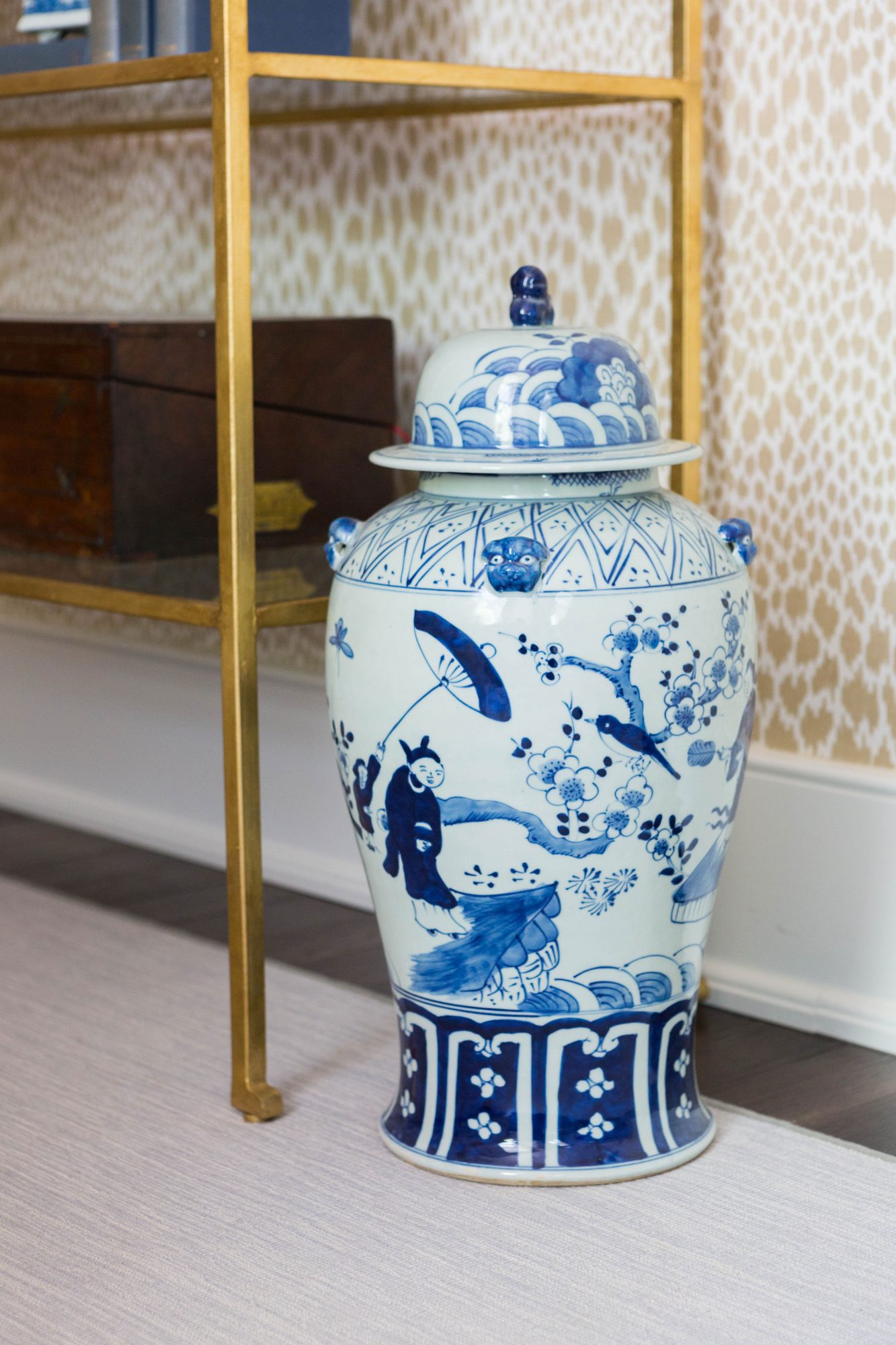 Blue and White Floor Vase