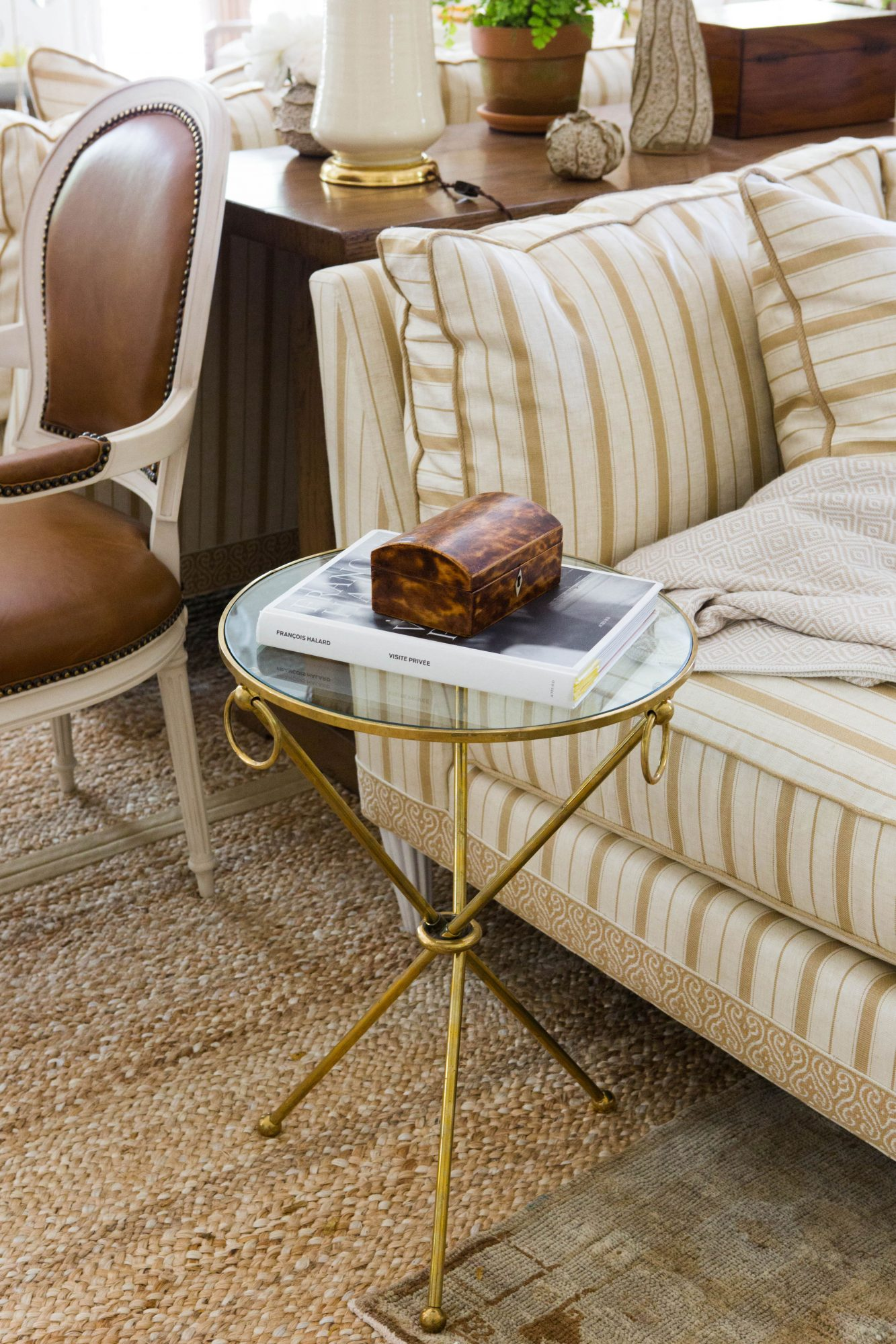 Brass Glass Side Table