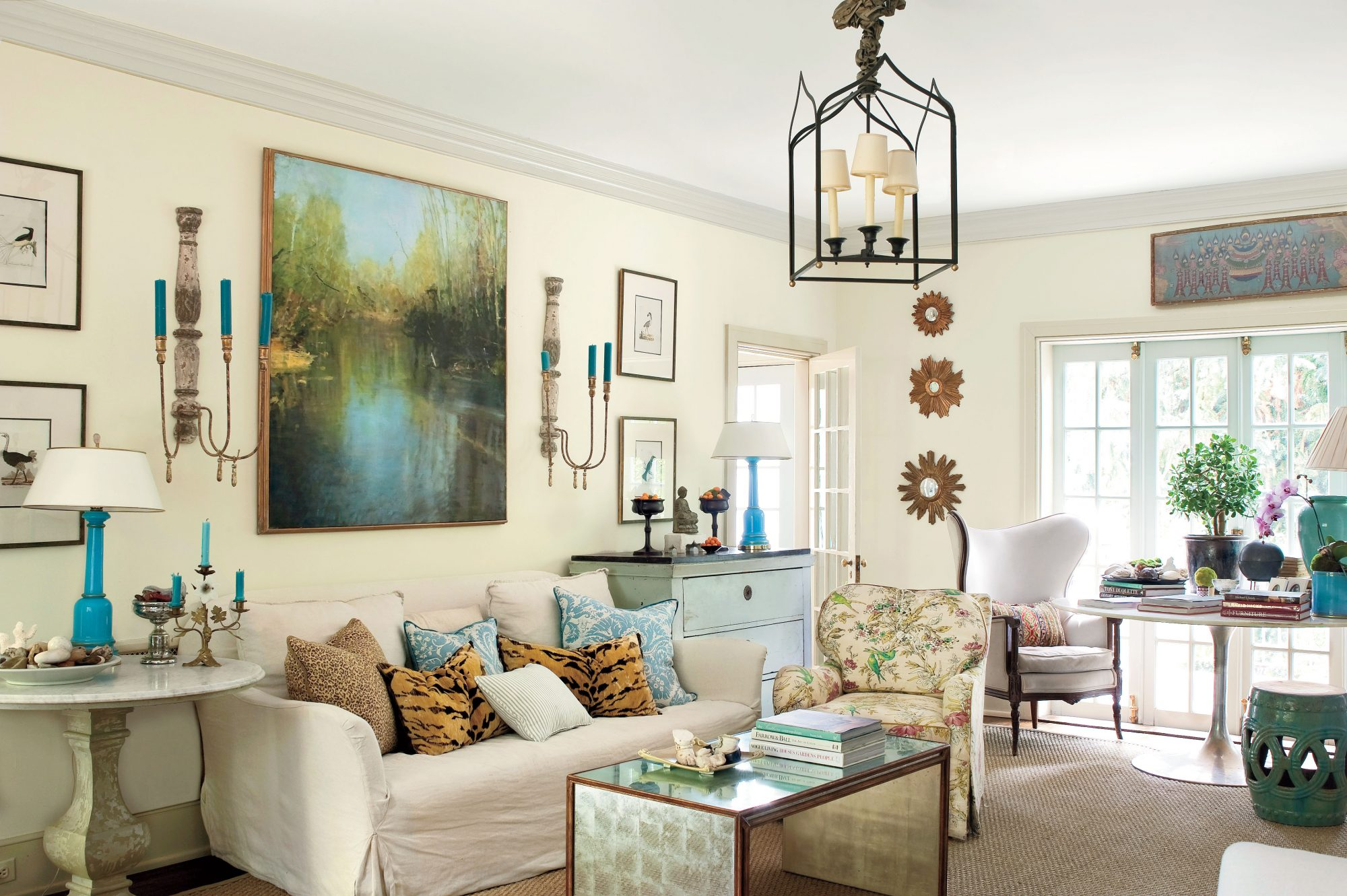 Neutral Living Room with Pops of Color