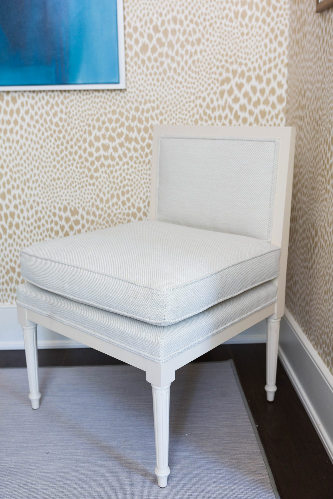 Gray and White Armless Chair