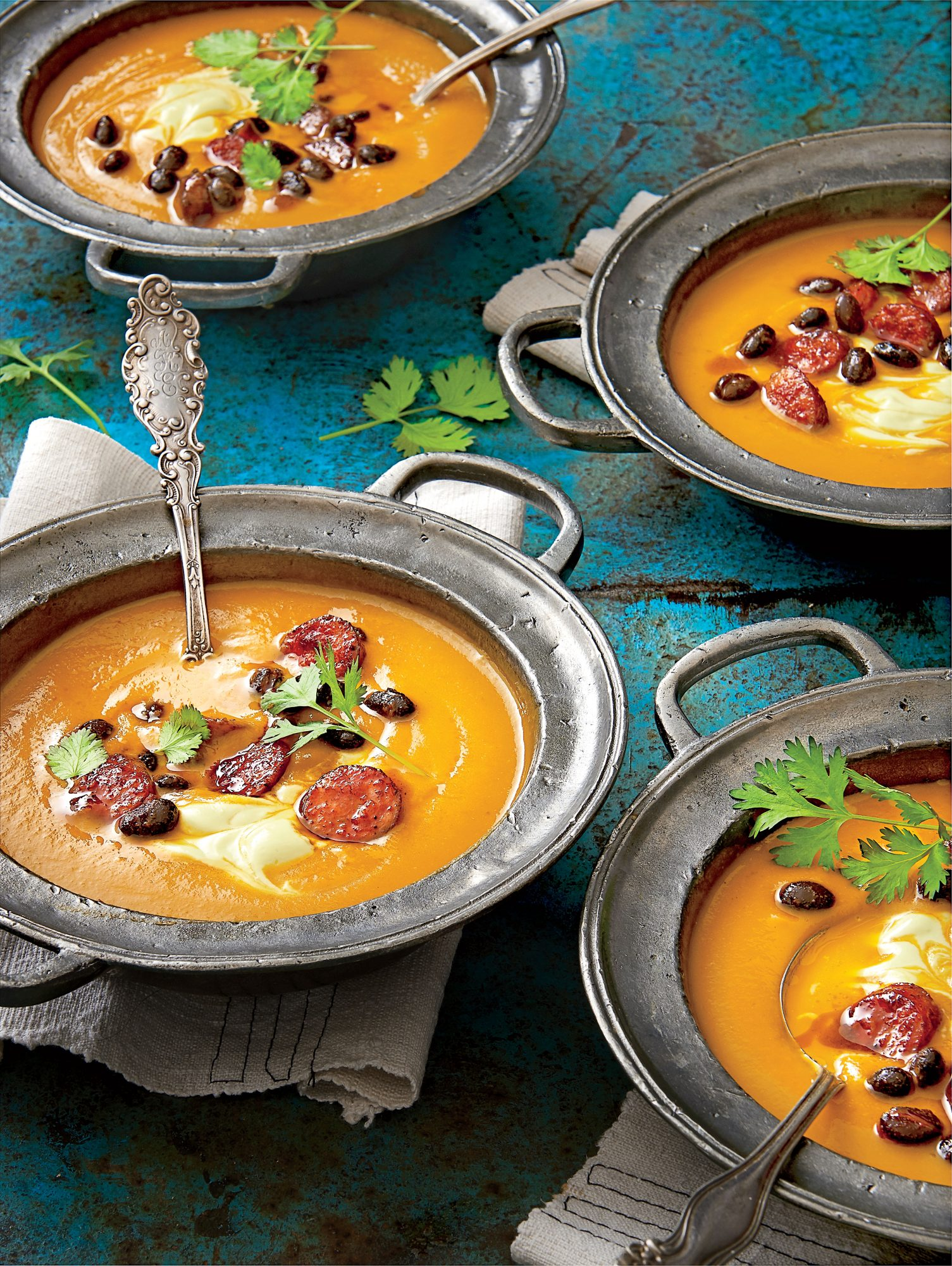 Spicy Pumpkin Soup with Avocado Cream
