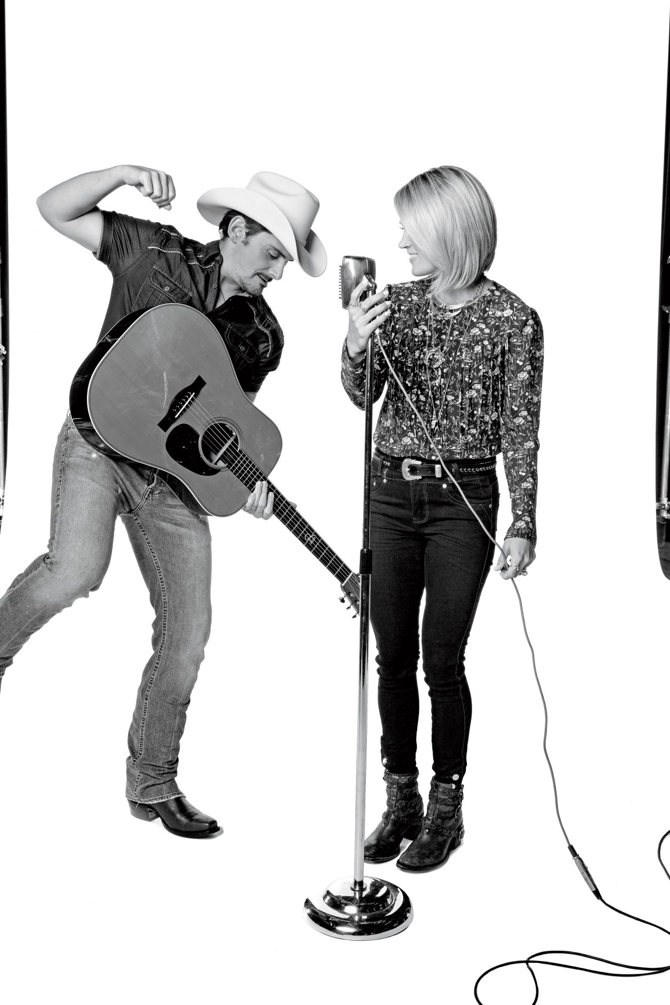 Brad with Guitar and Carrie with Microphone