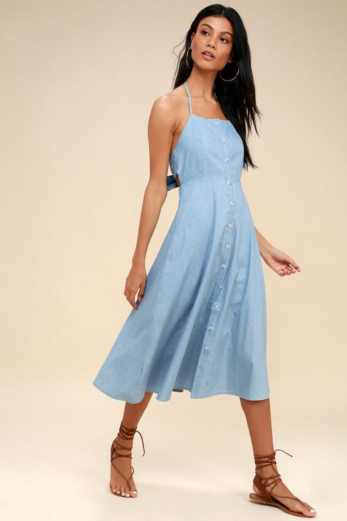 Chambray Button-Up Midi Dress