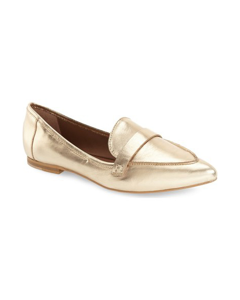 metallic slip on flats