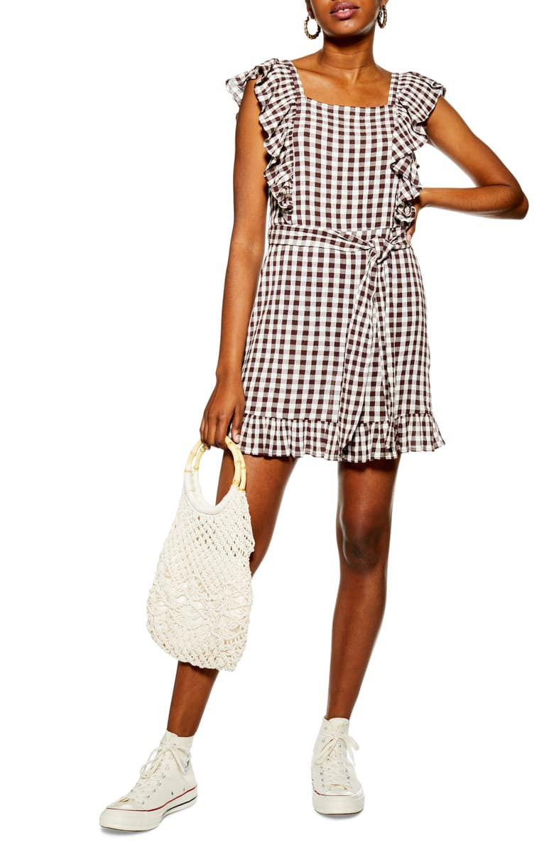Gingham Ruffle Mini Dress