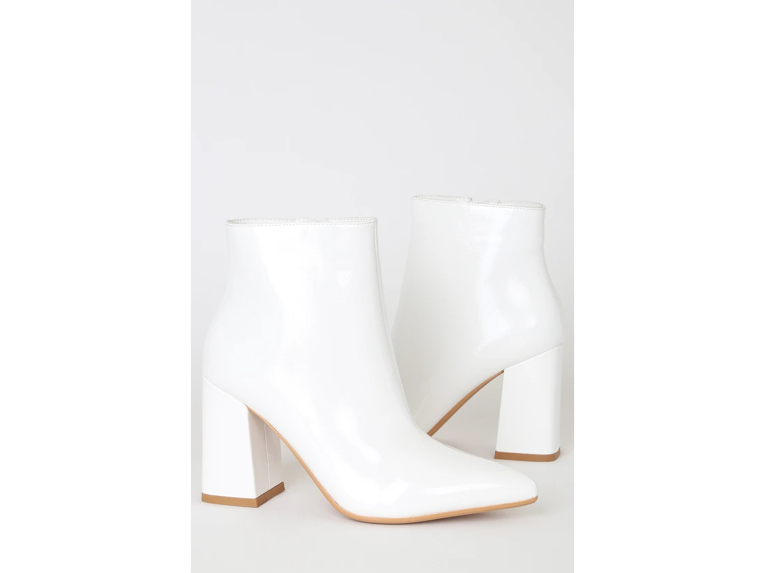 Temptations White Patent Pointed-Toe Booties