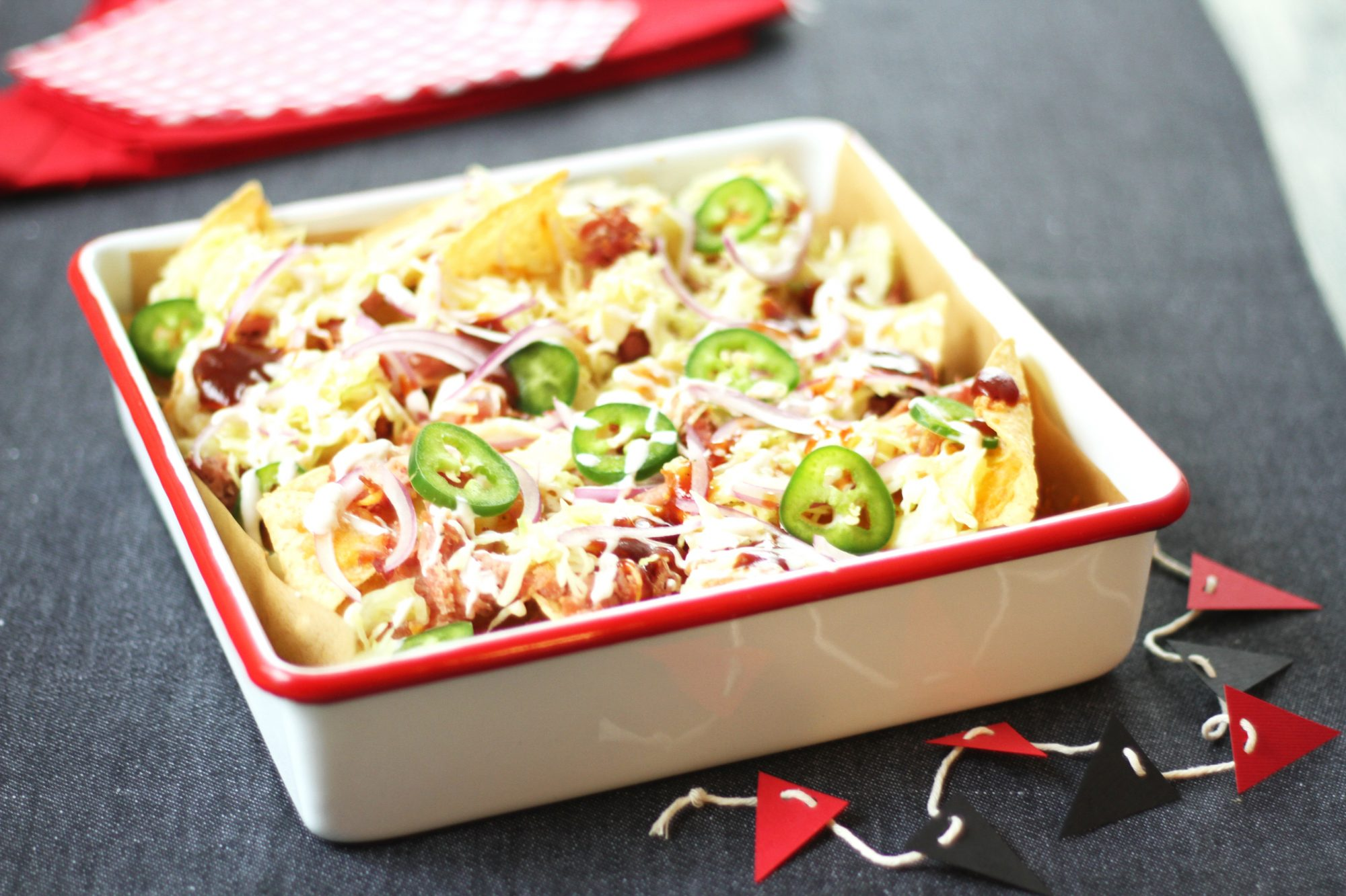Pigskin BBQ Nachos with Carolina Slaw