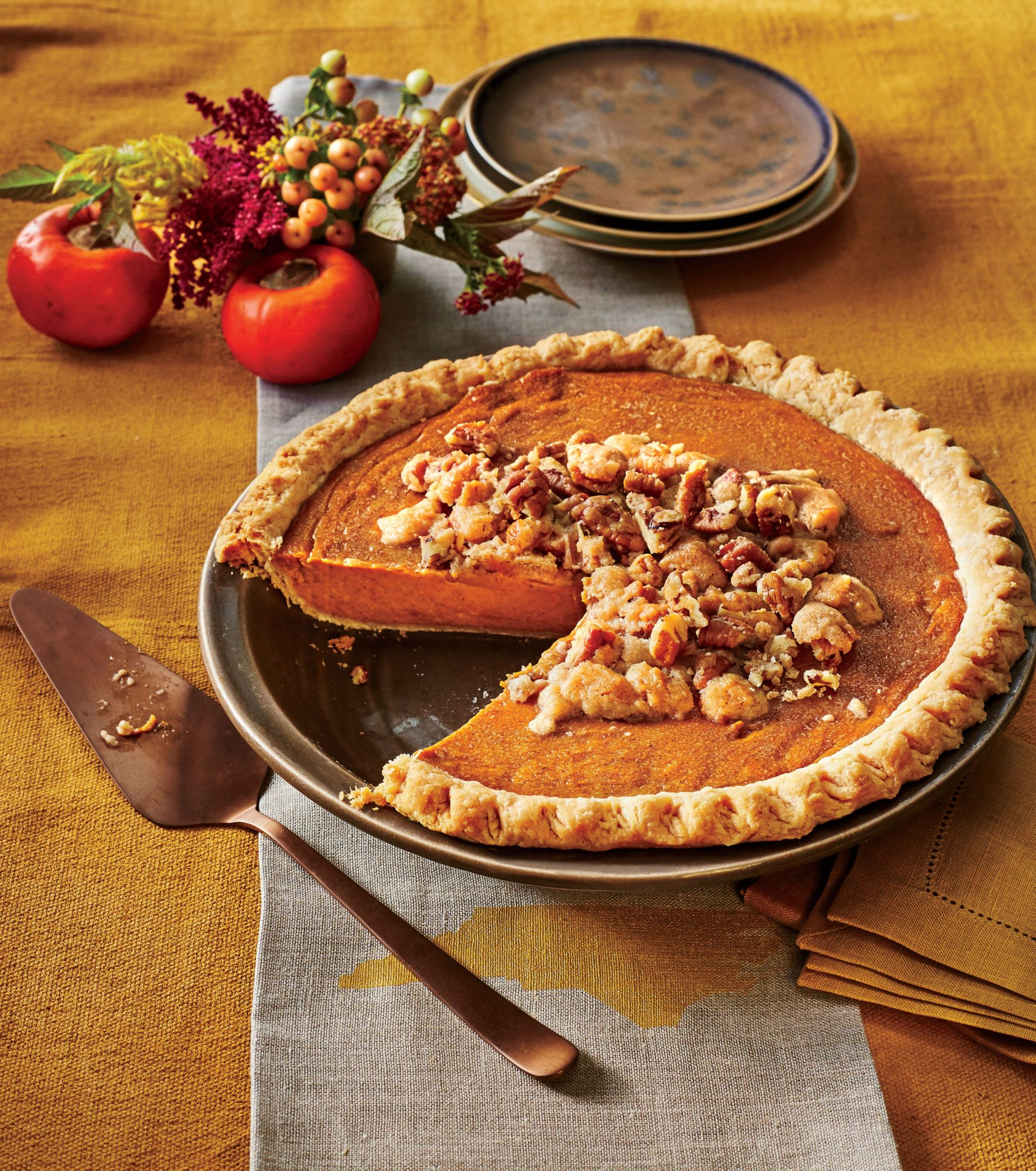 Persimmon Pie with Pecan Streusel Recipe