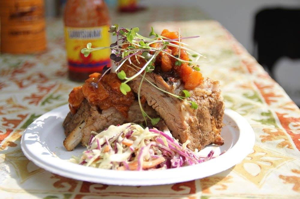 Fried Baby Backs with Pickled Peaches at Root Down Food Cart