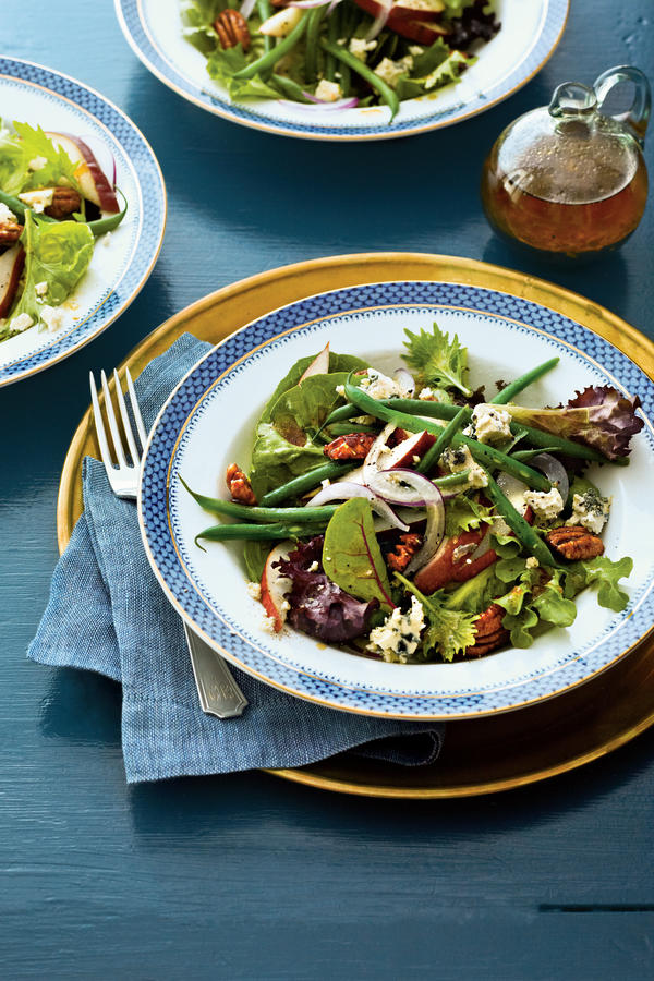 Thanksgiving Salad Pear and Green bean Salad with Sorghum Vinaigrette