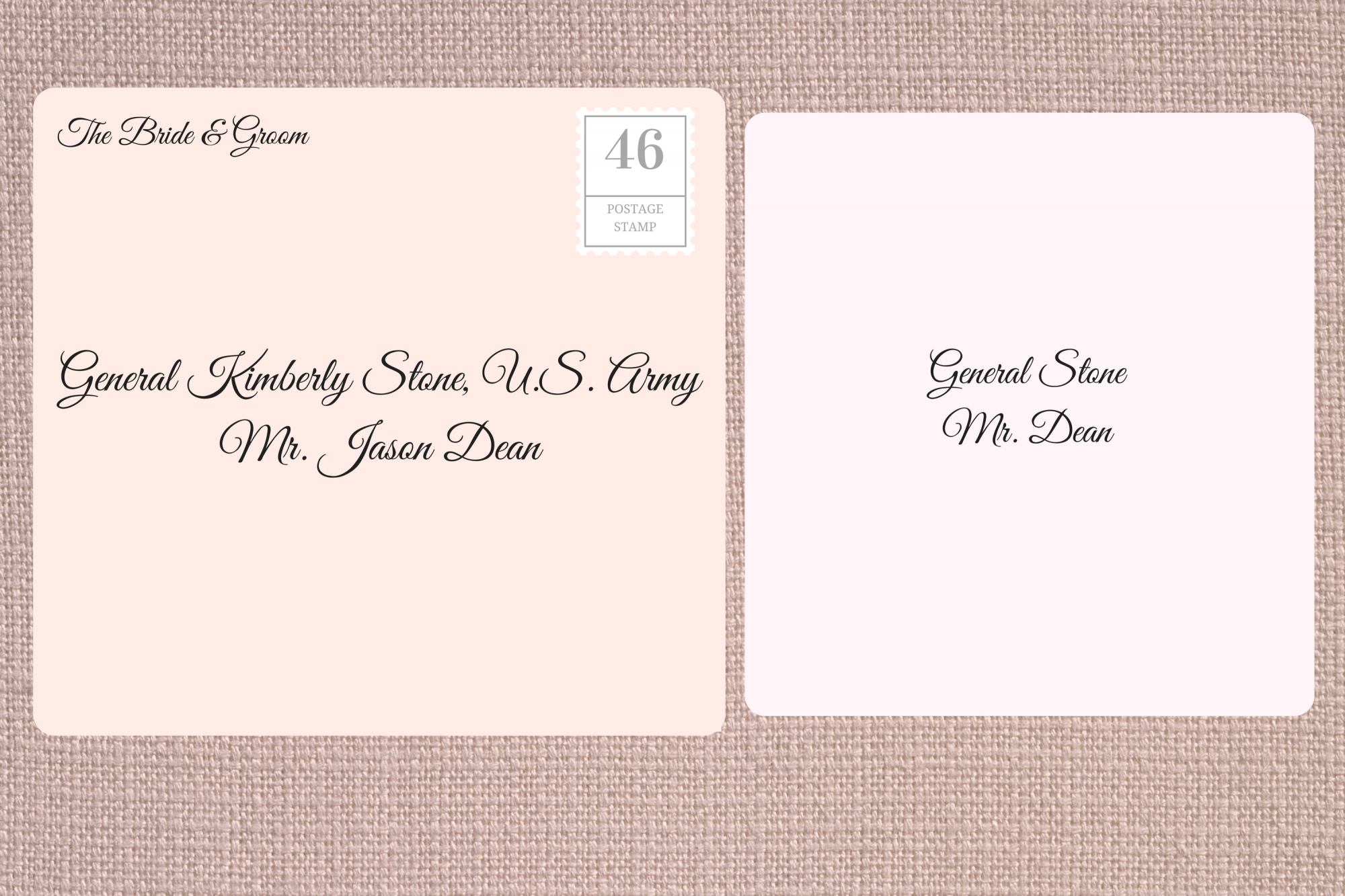 Addressing Double Envelope Wedding Invitations to Female Military Office