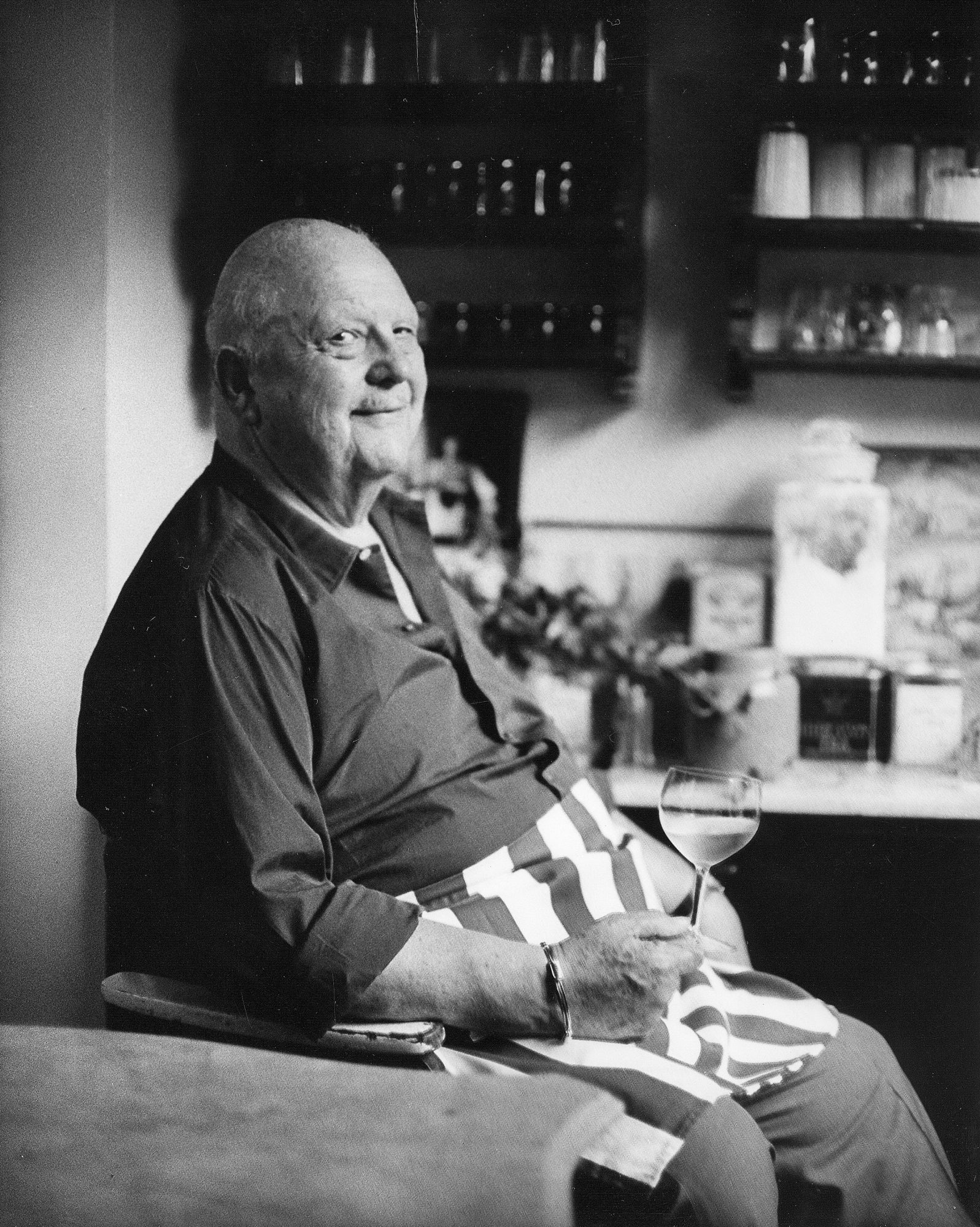 James Beard sitting in Kitchen