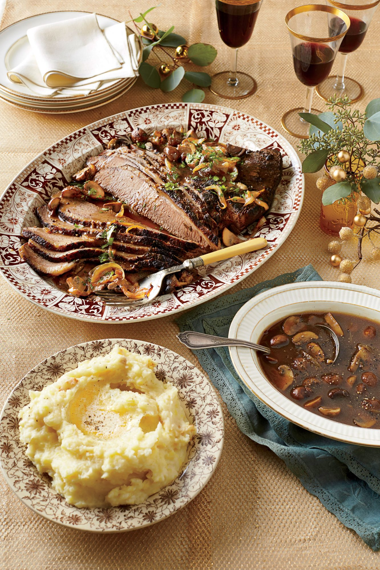 Brisket with Mushroom-and-Onion Gravy